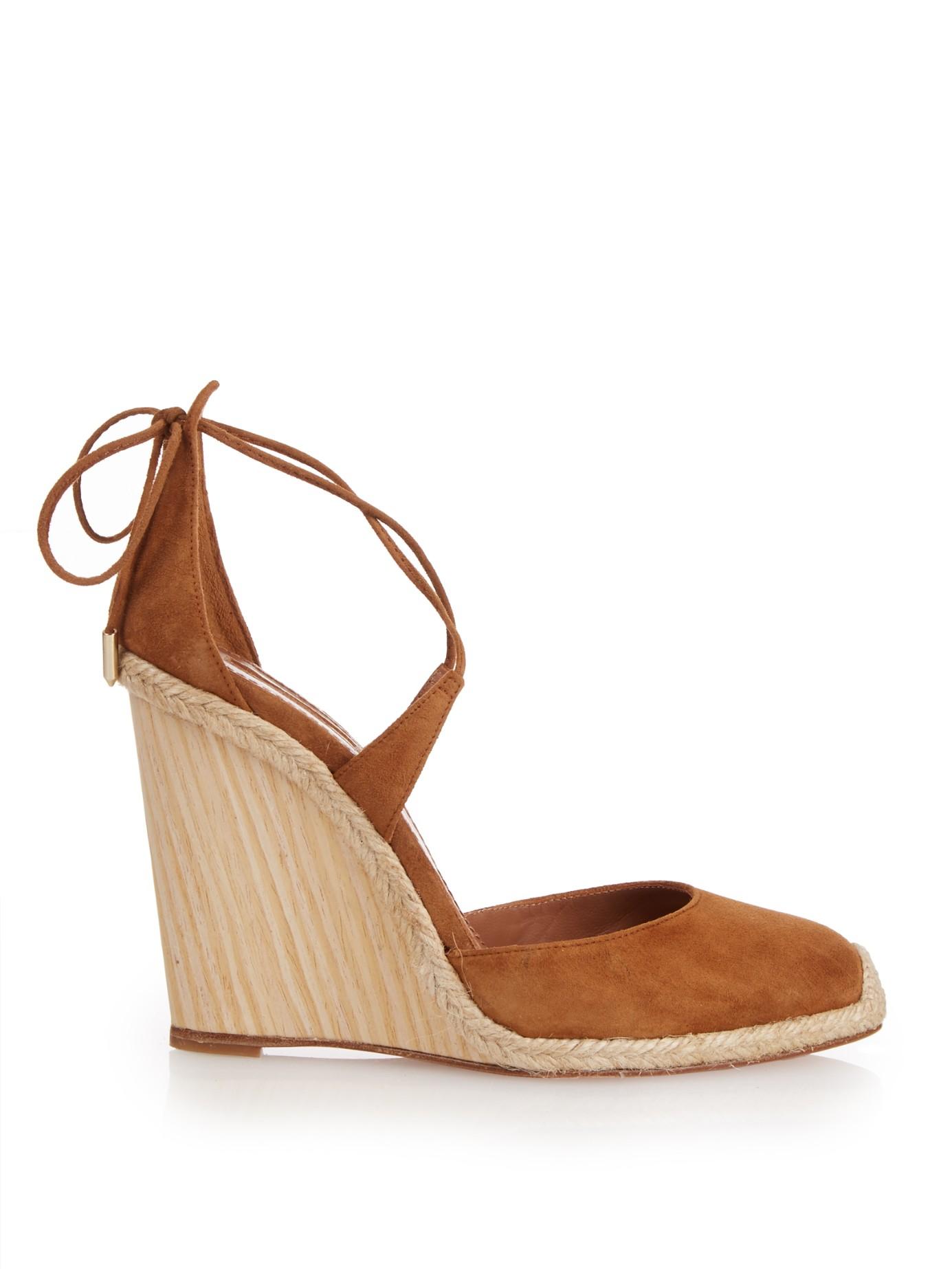 6b47171939c Lyst - Aquazzura Karlie Espadrille Wedge Sandals in Brown