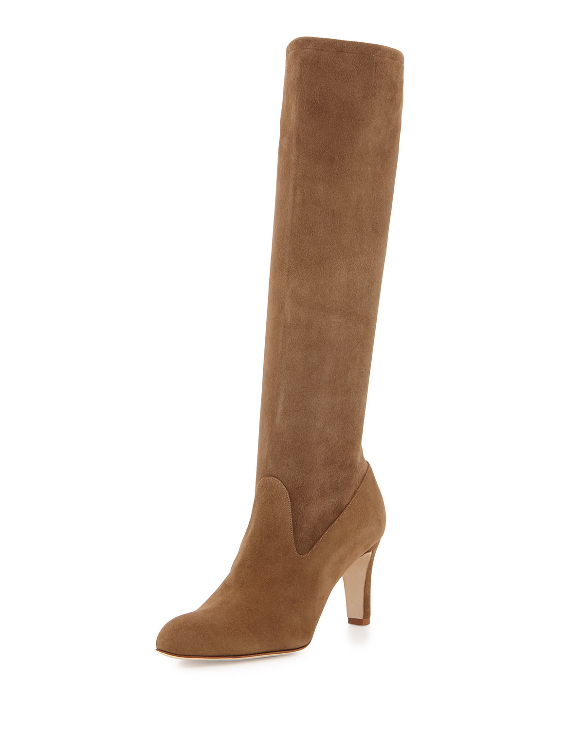 manolo blahnik pascaputre stretch suede boots in gray lyst