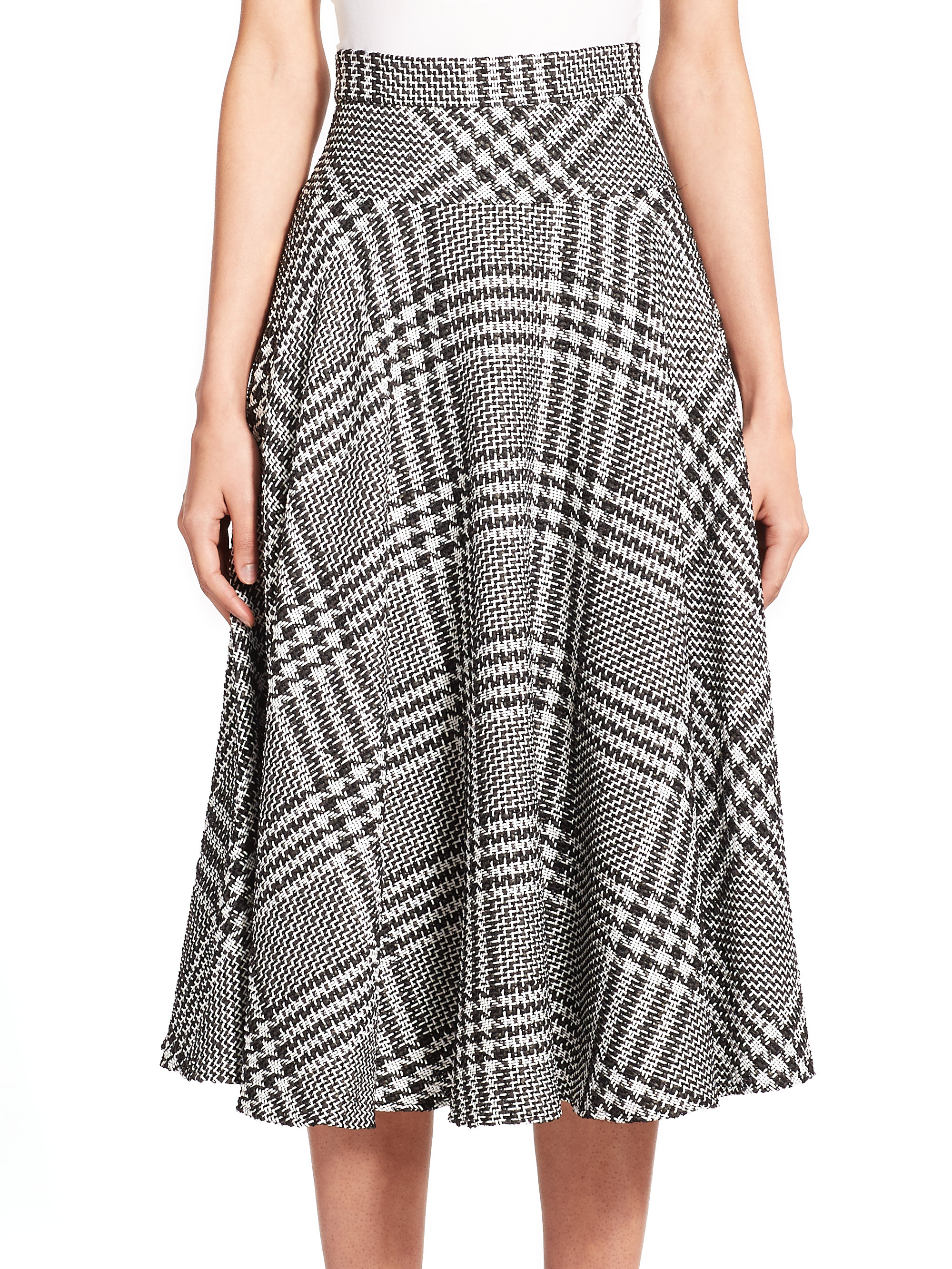 Escada Houndstooth Check Skirt in Black | Lyst