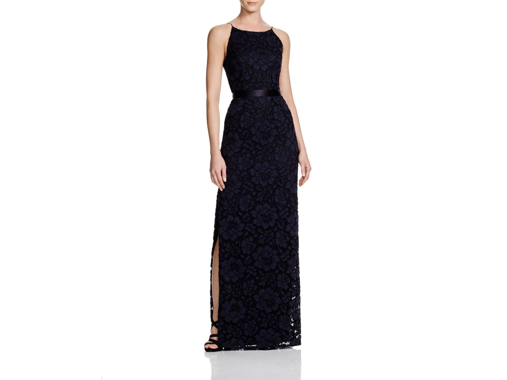 Lyst - Aidan Mattox Lace Side Slit Gown - 100% Bloomingdale\'s ...