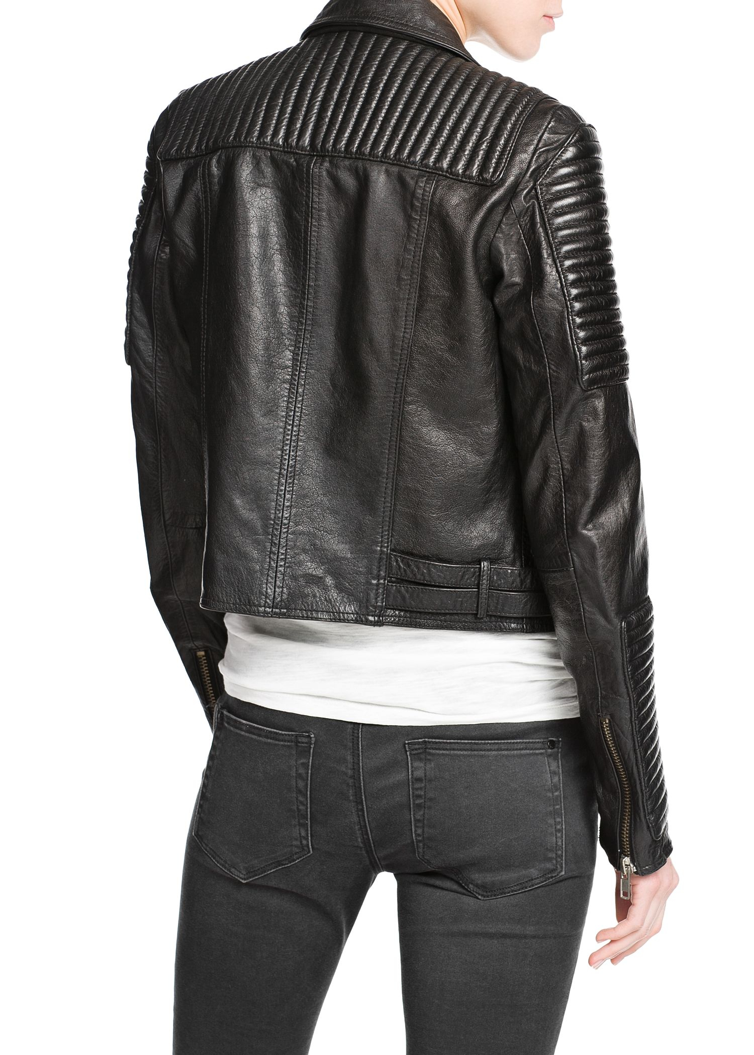 Lyst Mango Leather Biker Jacket In Black