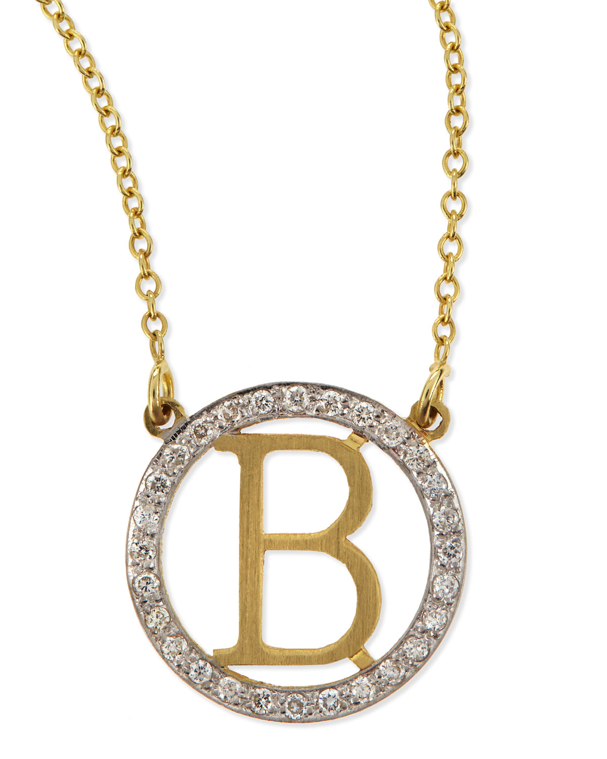 Lyst kacey k small round initial pendant necklace with diamonds in gallery previously sold at neiman marcus womens initial necklaces aloadofball Image collections