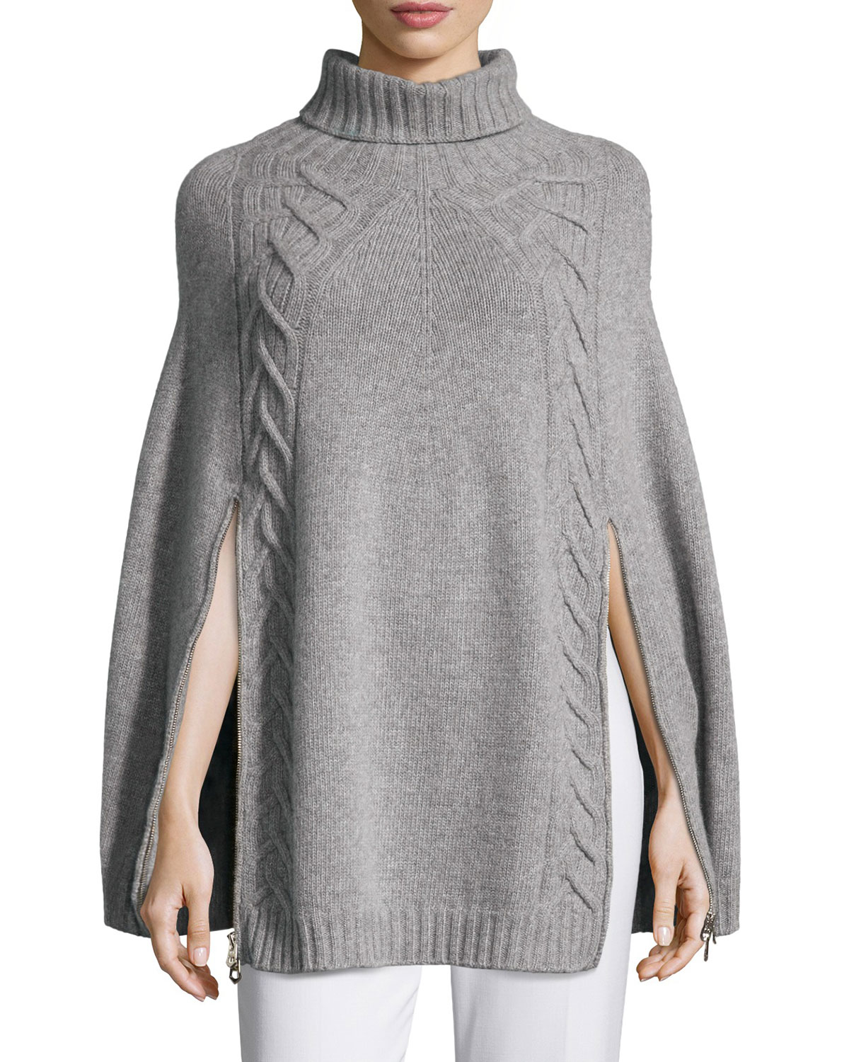 Knitting Pattern For Mens Poncho : Agnona Double-zip Knit Poncho in Gray - Save 46% Lyst