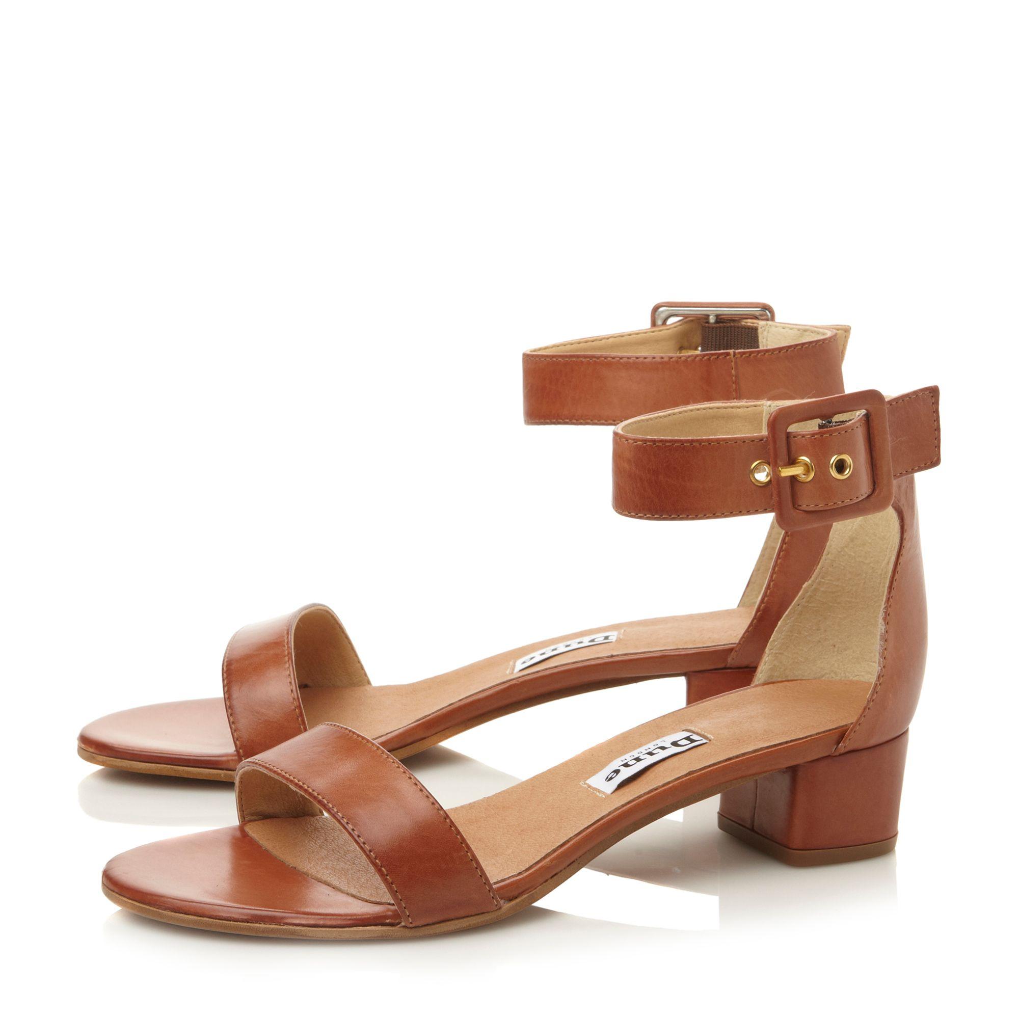 Lyst Dune Fran Leather Block Heel Two Part Sandals In Brown