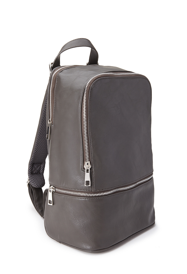 02bcf4afbe Lyst - Forever 21 Mini Faux Leather Backpack in Gray