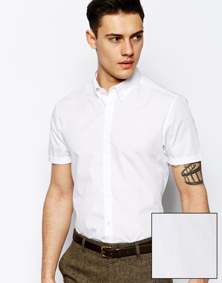 Asos Smart Shirt In Short Sleeve With Button Down Collar