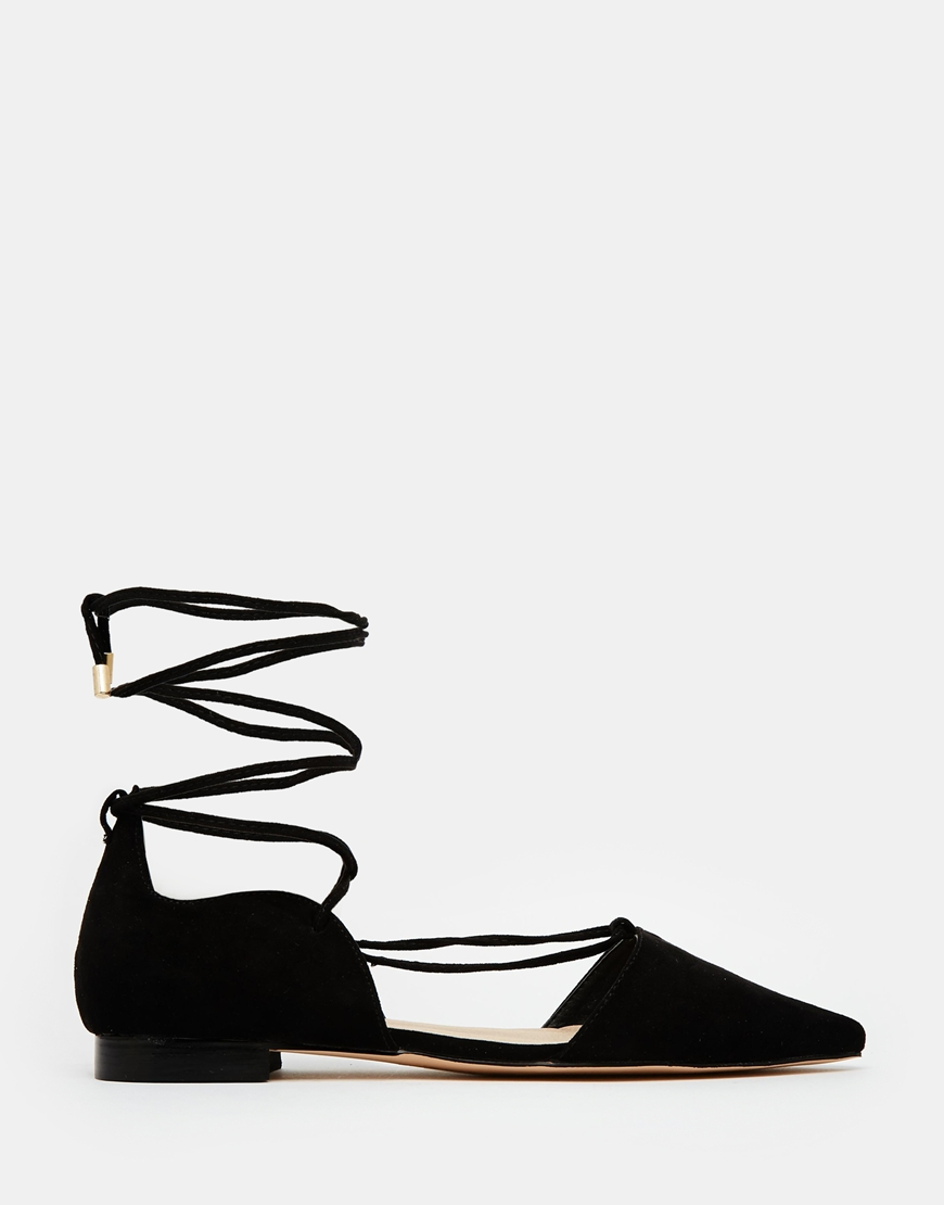 5894109041 ASOS Locket Lace Up Pointed Ballet Flats in Black - Lyst