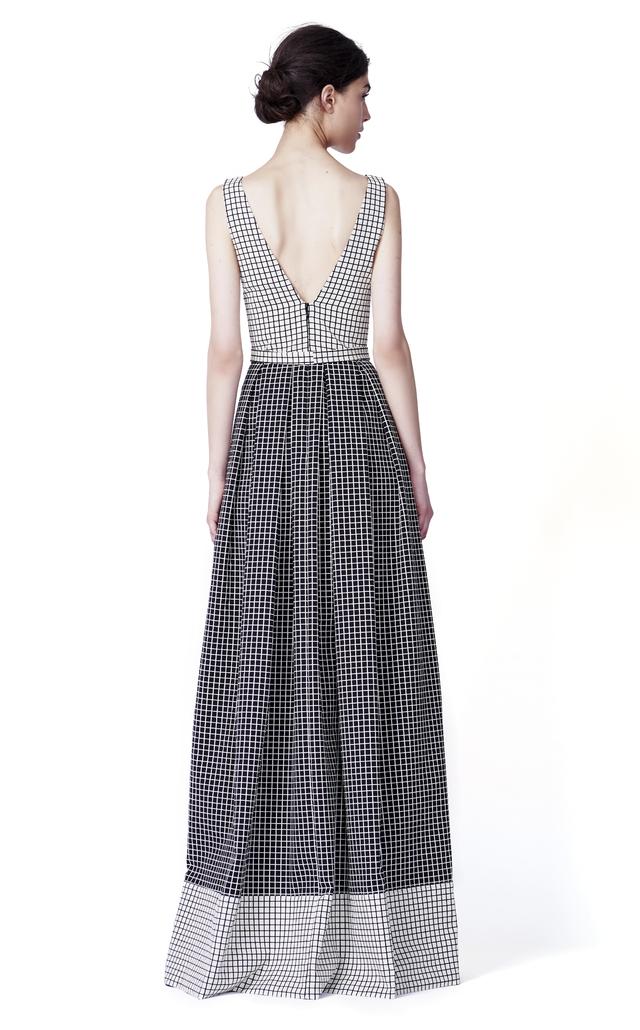 Lyst - Sandra Weil Bowie Monochrome Grid Maxi Dress in Black