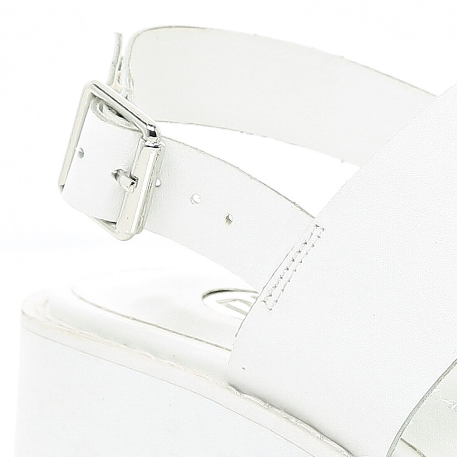 53d36b61d45 River Island White Block Heel Cleated Sole Sandals in White - Lyst