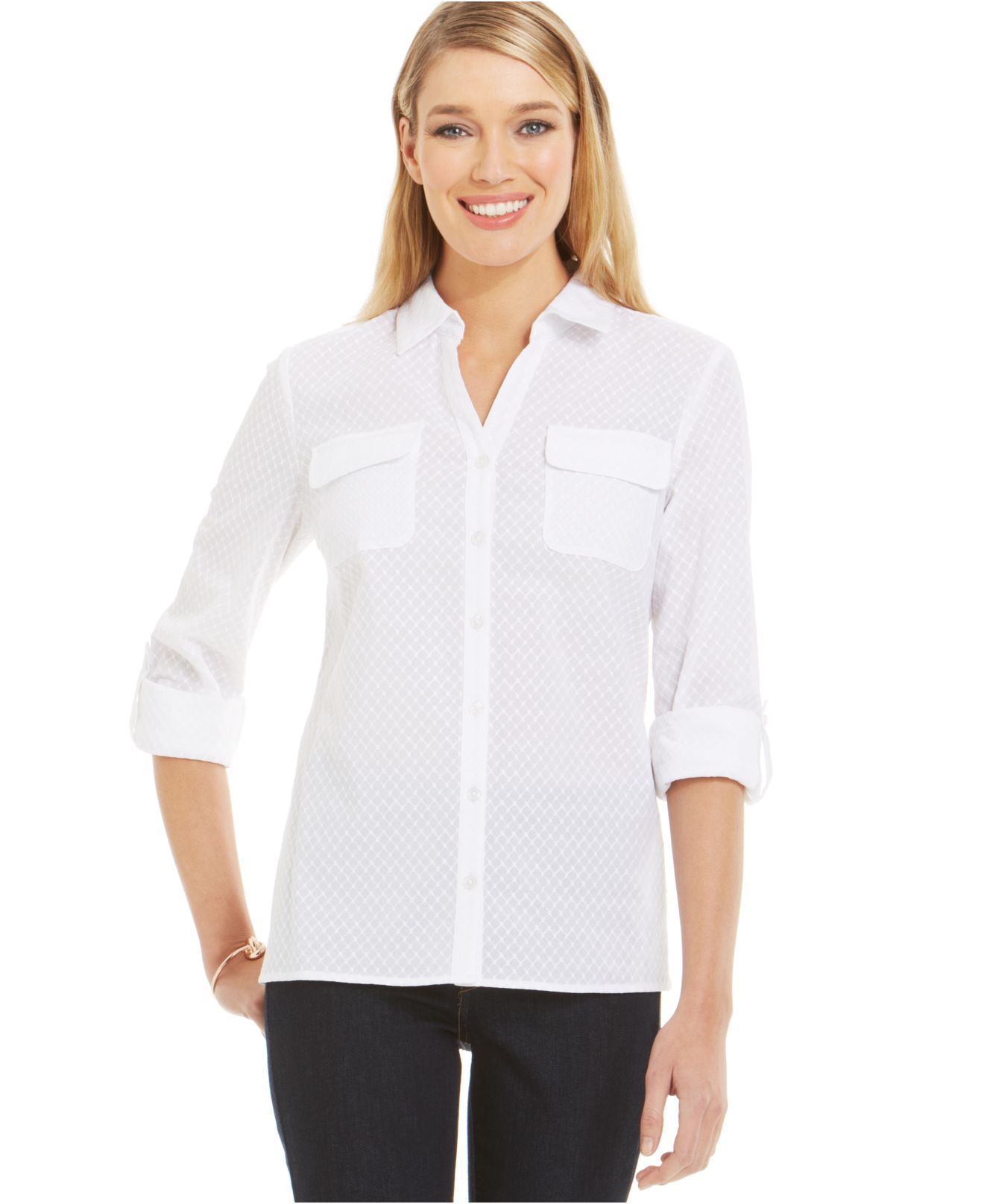 Jones new york embroidered button down shirt in white lyst for New york and company dress shirts