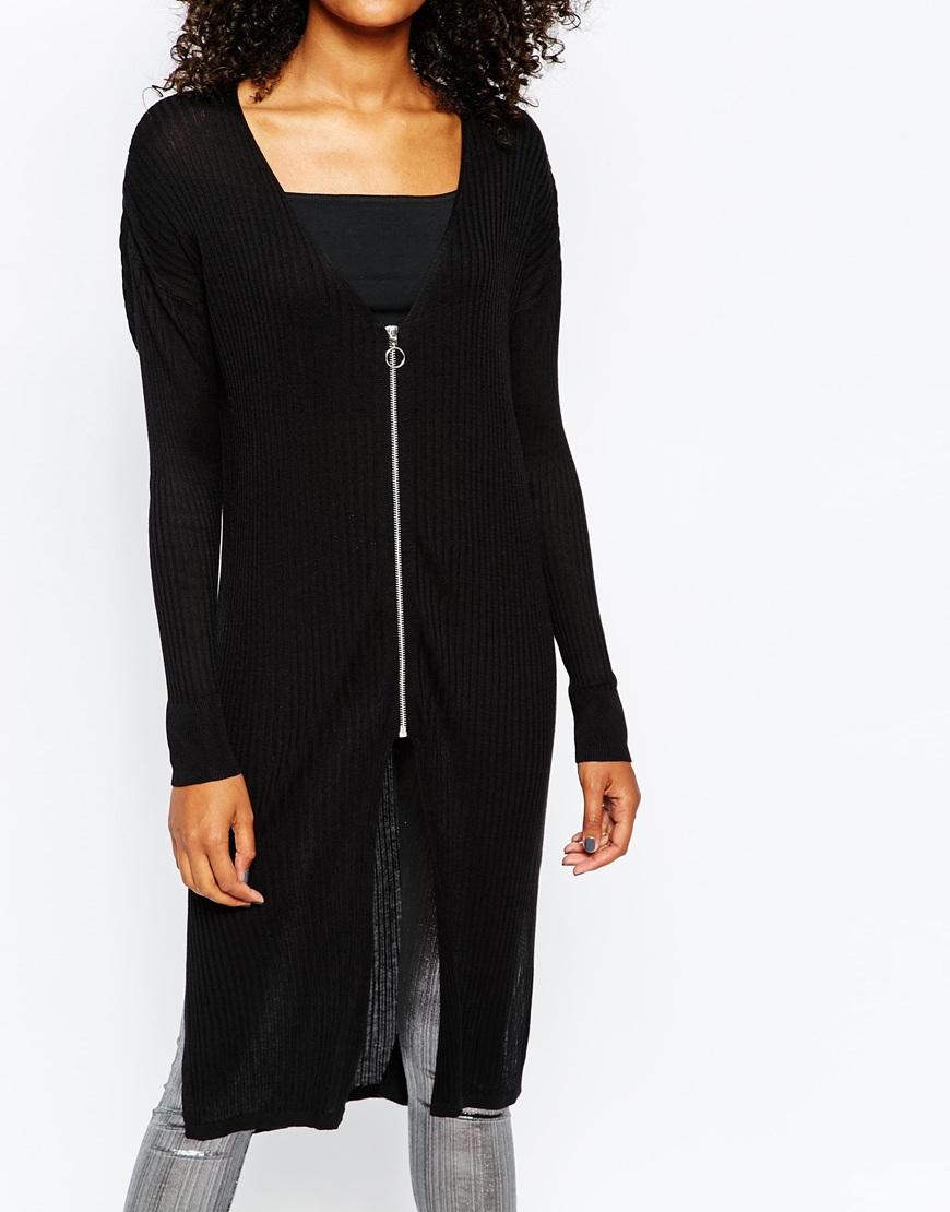 Monki Zip Detail Long Line Cardigan in Black | Lyst