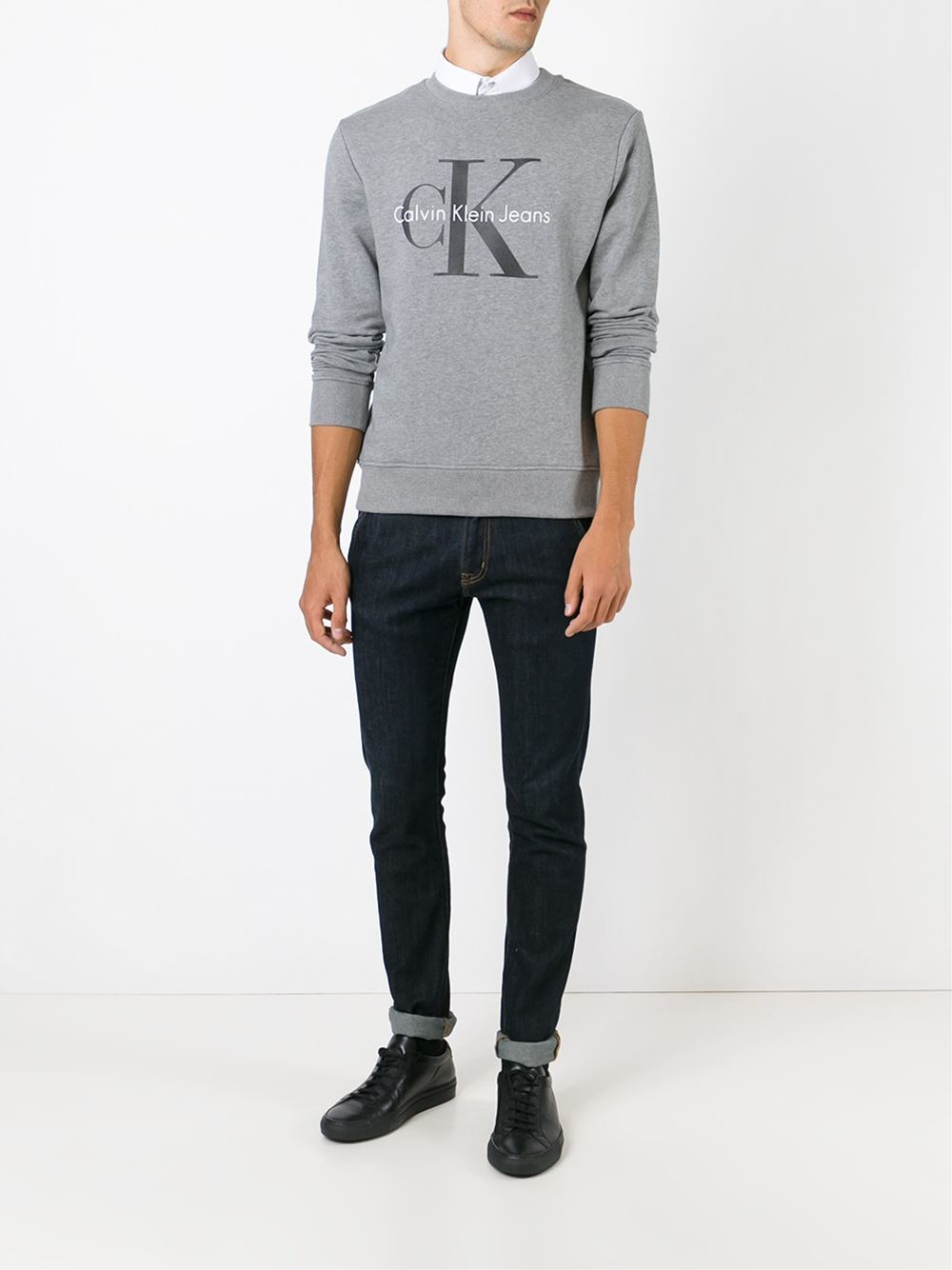 calvin klein jeans logo print sweatshirt in gray for men. Black Bedroom Furniture Sets. Home Design Ideas