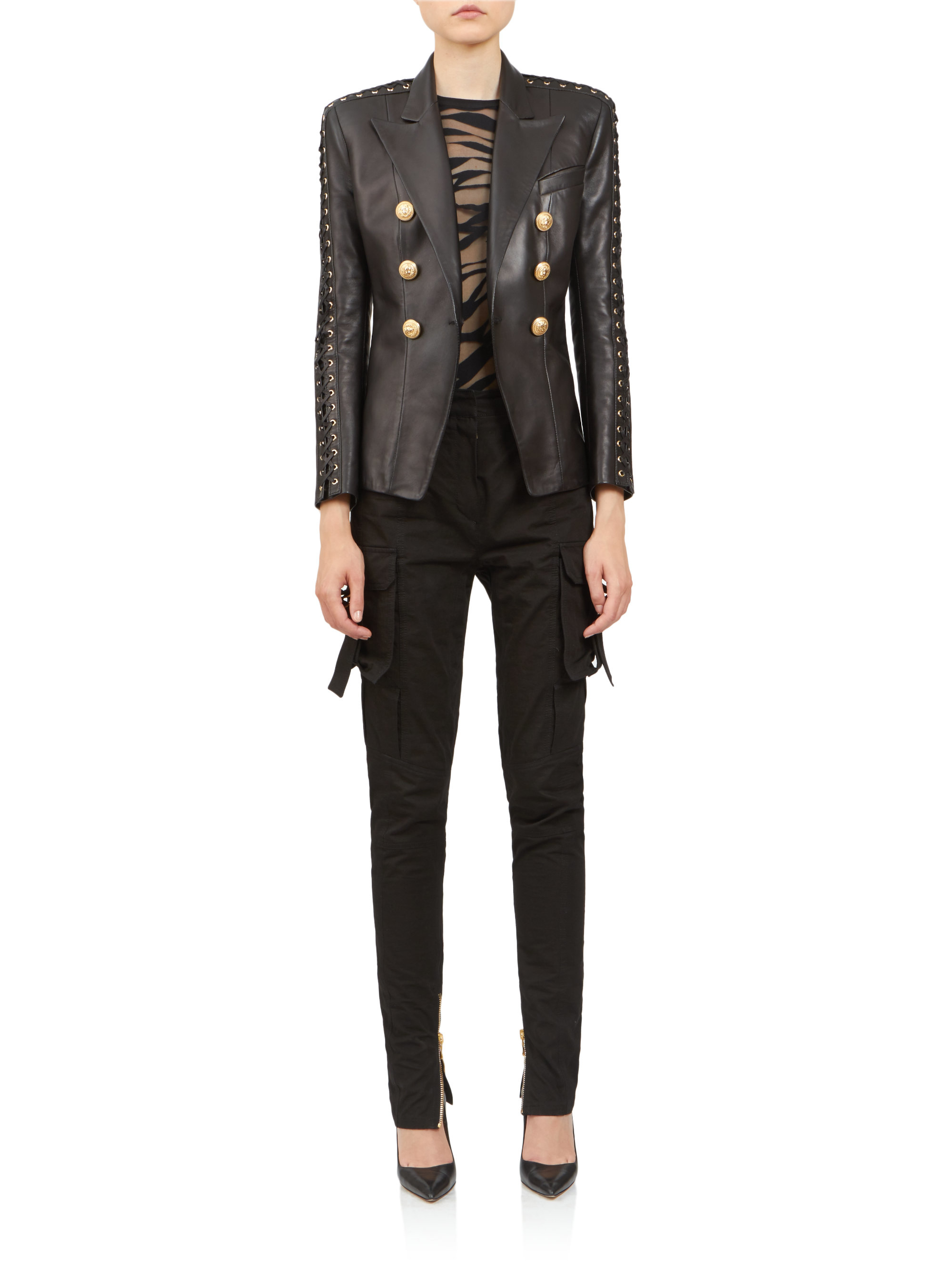 Lyst Balmain Quilted Leather Jacket In Black