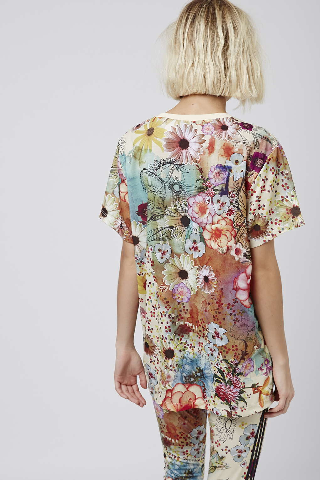 Lyst topshop floral print trefoil tee by adidas originals for Adidas floral shirt urban outfitters