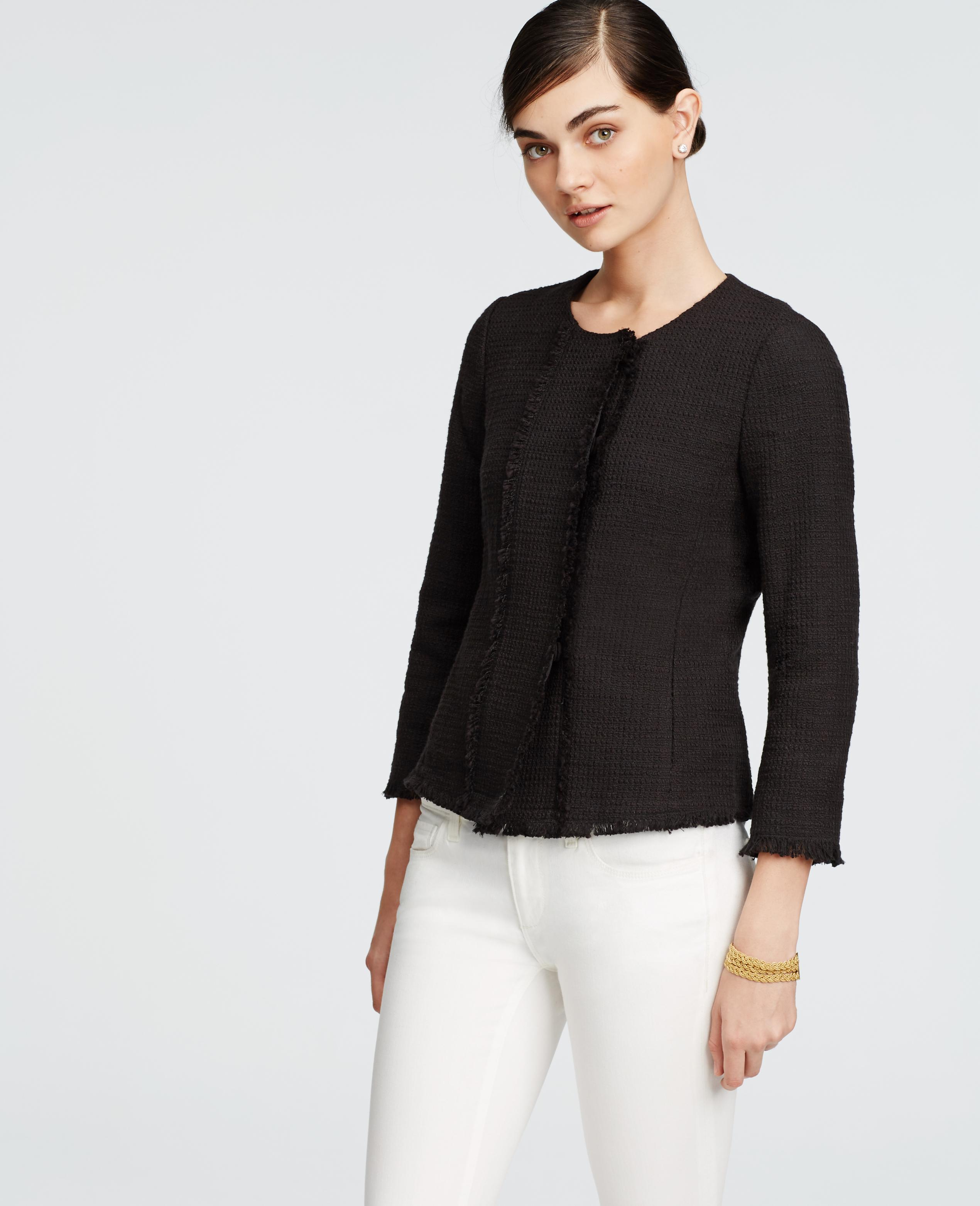 Ann taylor Petite Tweed Fringe Jacket in Black | Lyst