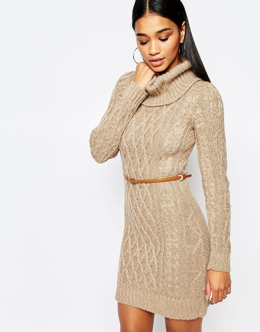 df4feaaa724 Lipsy Cable Knit Dress With Cowl Neck in Natural - Lyst