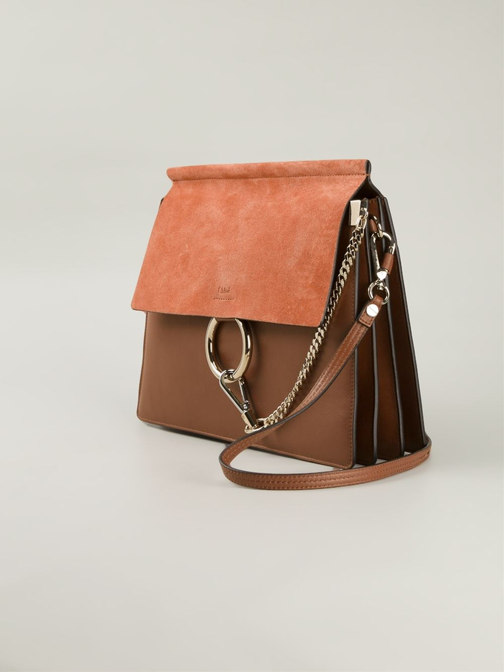 Chlo¨¦ Faye Leather and Suede Shoulder Bag in Brown | Lyst