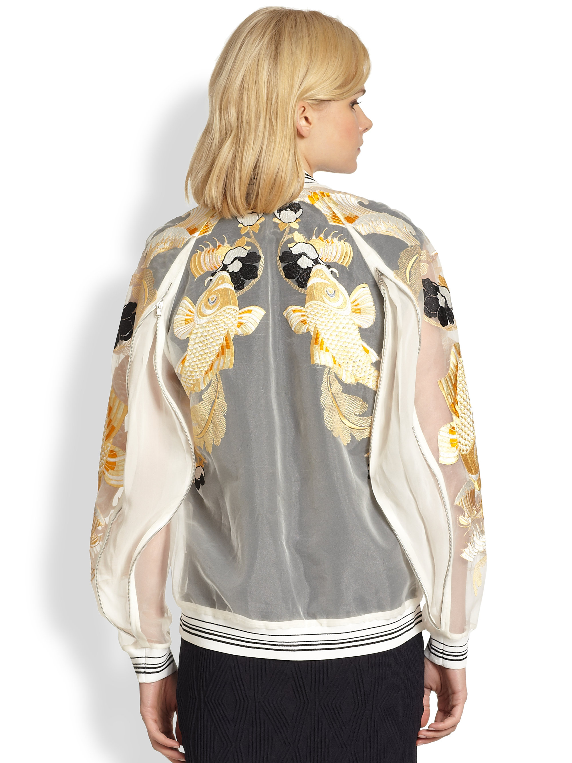Lyst 3 1 Phillip Lim Fish Embroidered Sheer Organza