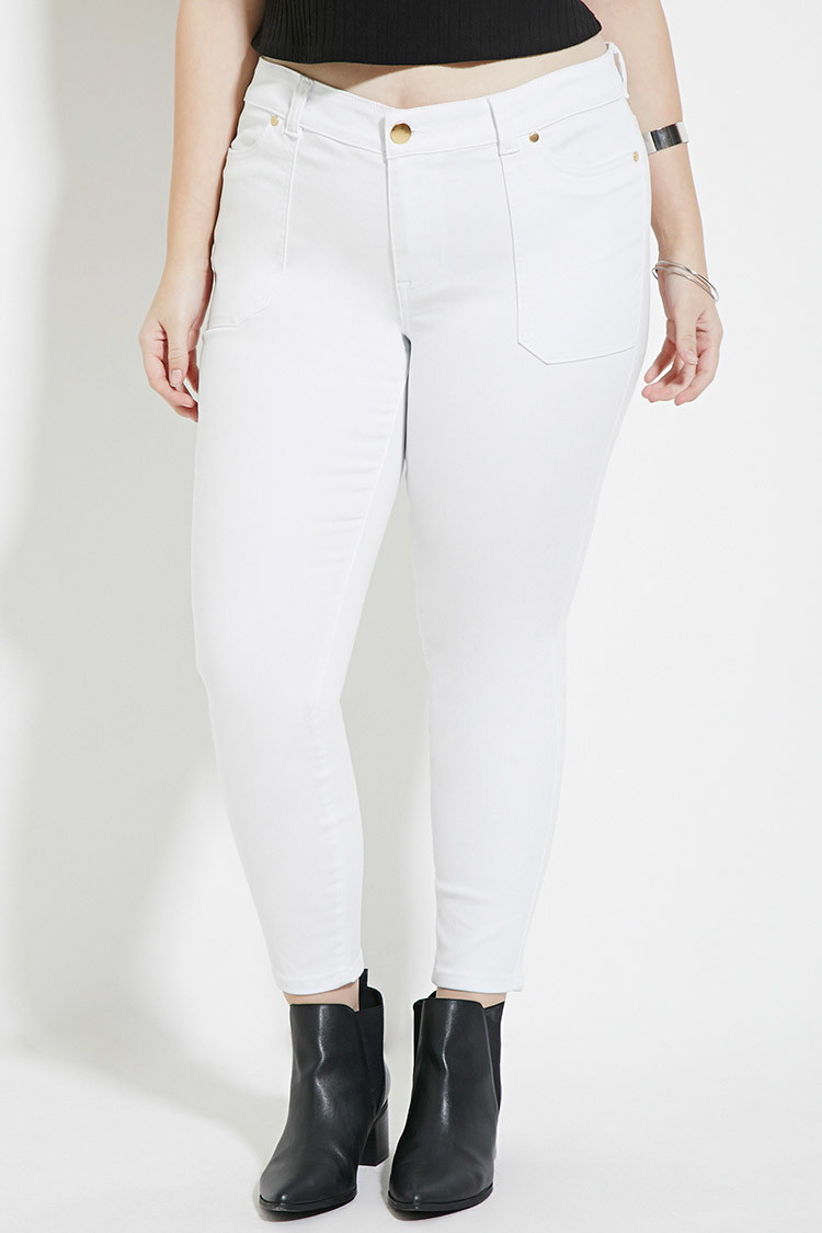 Forever 21 Plus Size Skinny Ankle Jeans in White | Lyst