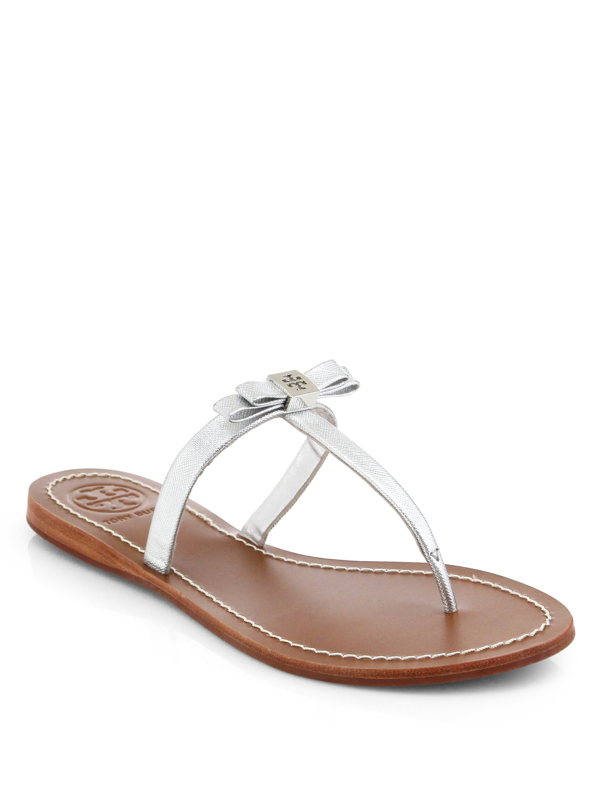 2e1ead87c14a Tory Burch Leighanne Metallic Leather Thong Sandals in Metallic - Lyst