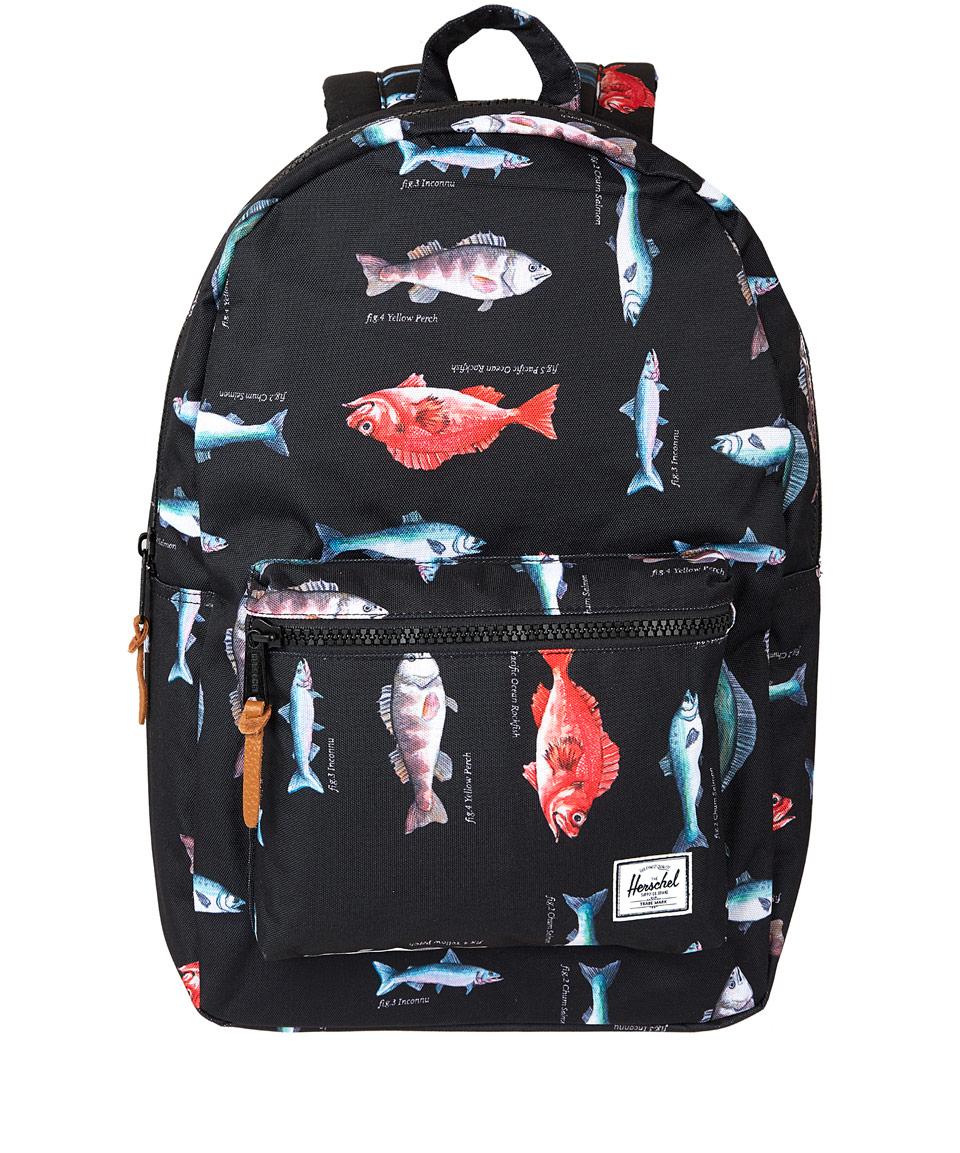 Herschel Supply Co Settlement Backpack: Herschel Supply Co. Black Fish Print Settlement Backpack