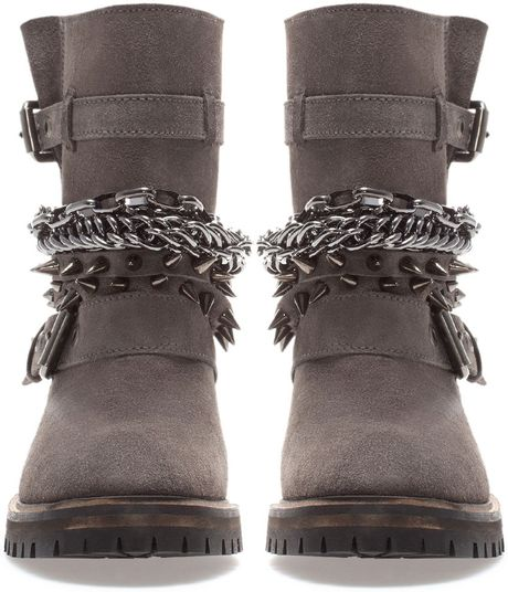 Zara Leather Ankle Boot With Chains And Straps In Gray