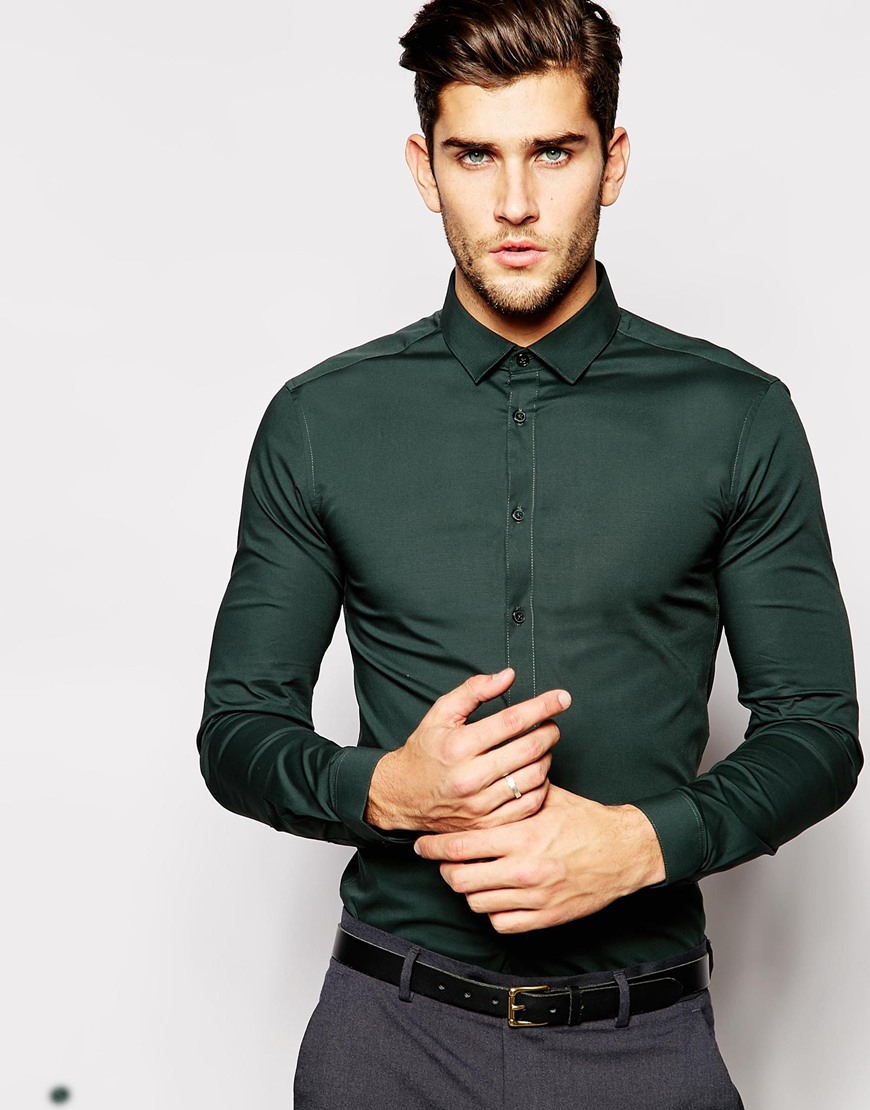 Lyst - Asos Skinny Fit Shirt In Khaki With Long Sleeves in Green for Men