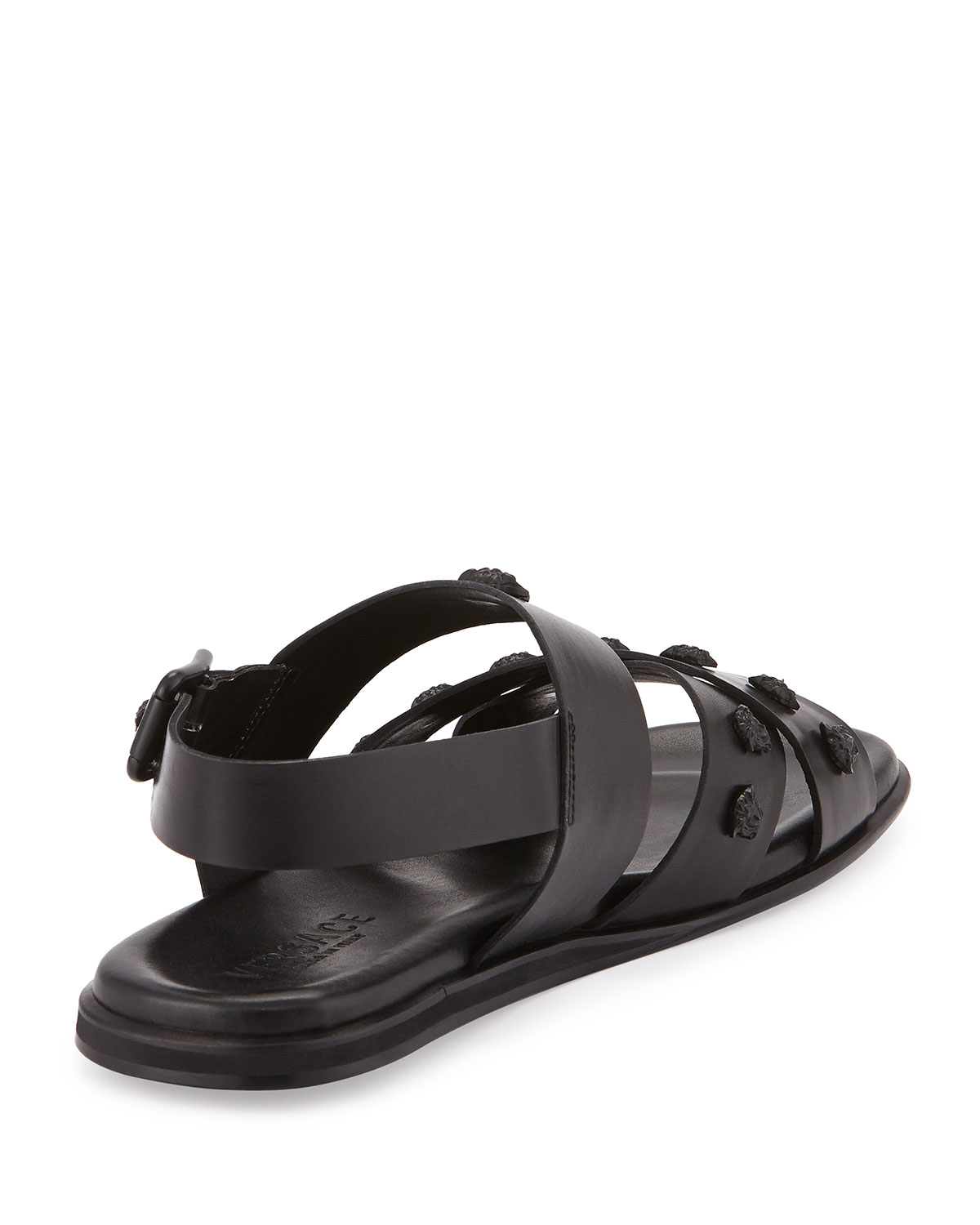 9c7077743f3858 Lyst - Versace Men s Leather Strappy Sandal in Black for Men