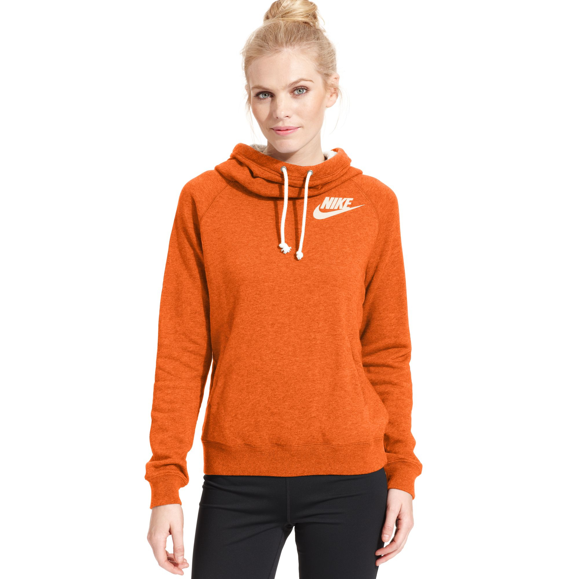 Nike Rally Funnelneck Sweatshirt Hoodie In Orange Turf