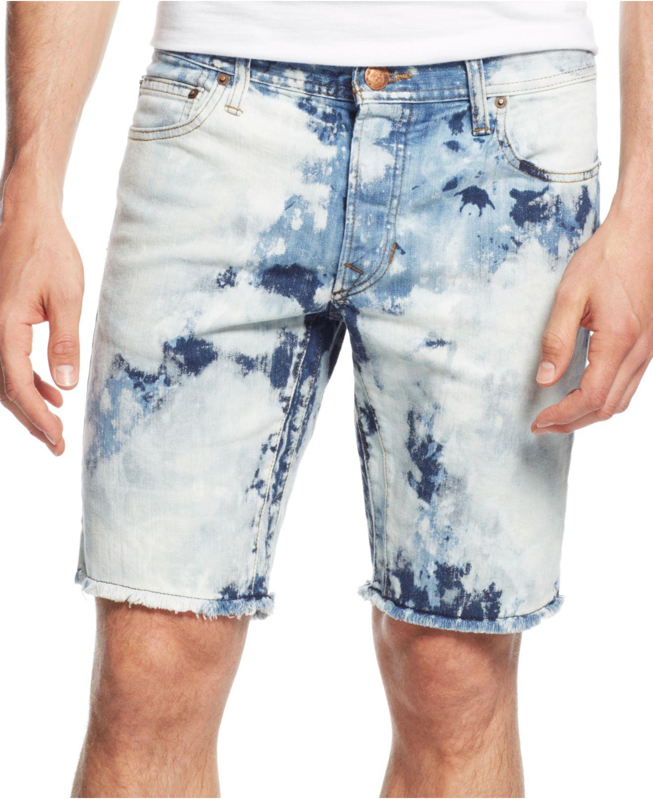 Lyst Rogue State Men S Tie Dye Denim Shorts In Blue For Men