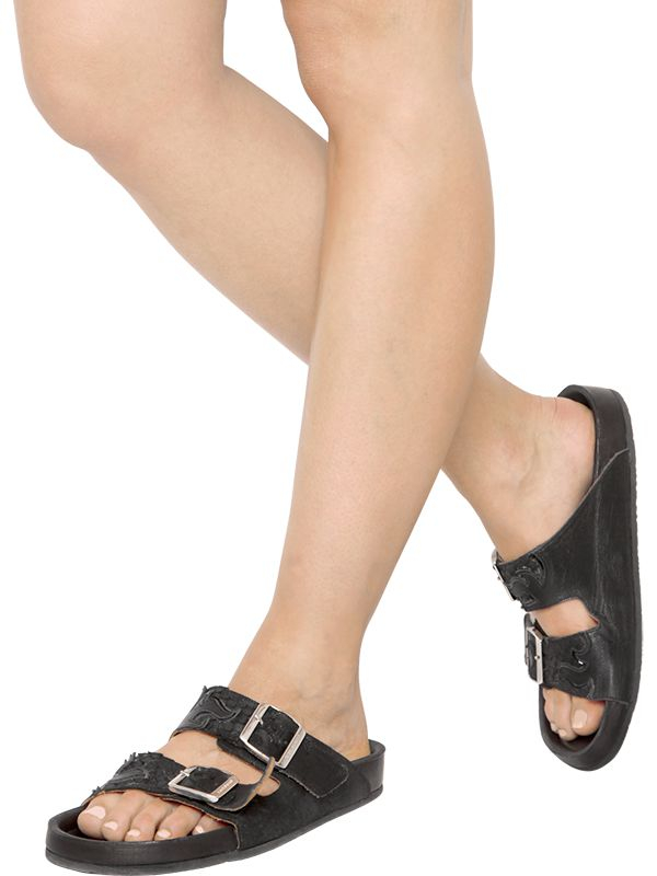 25336fe11887 Lyst - Isabel Marant Etoile Gail Embossed Leather Sandals in Black