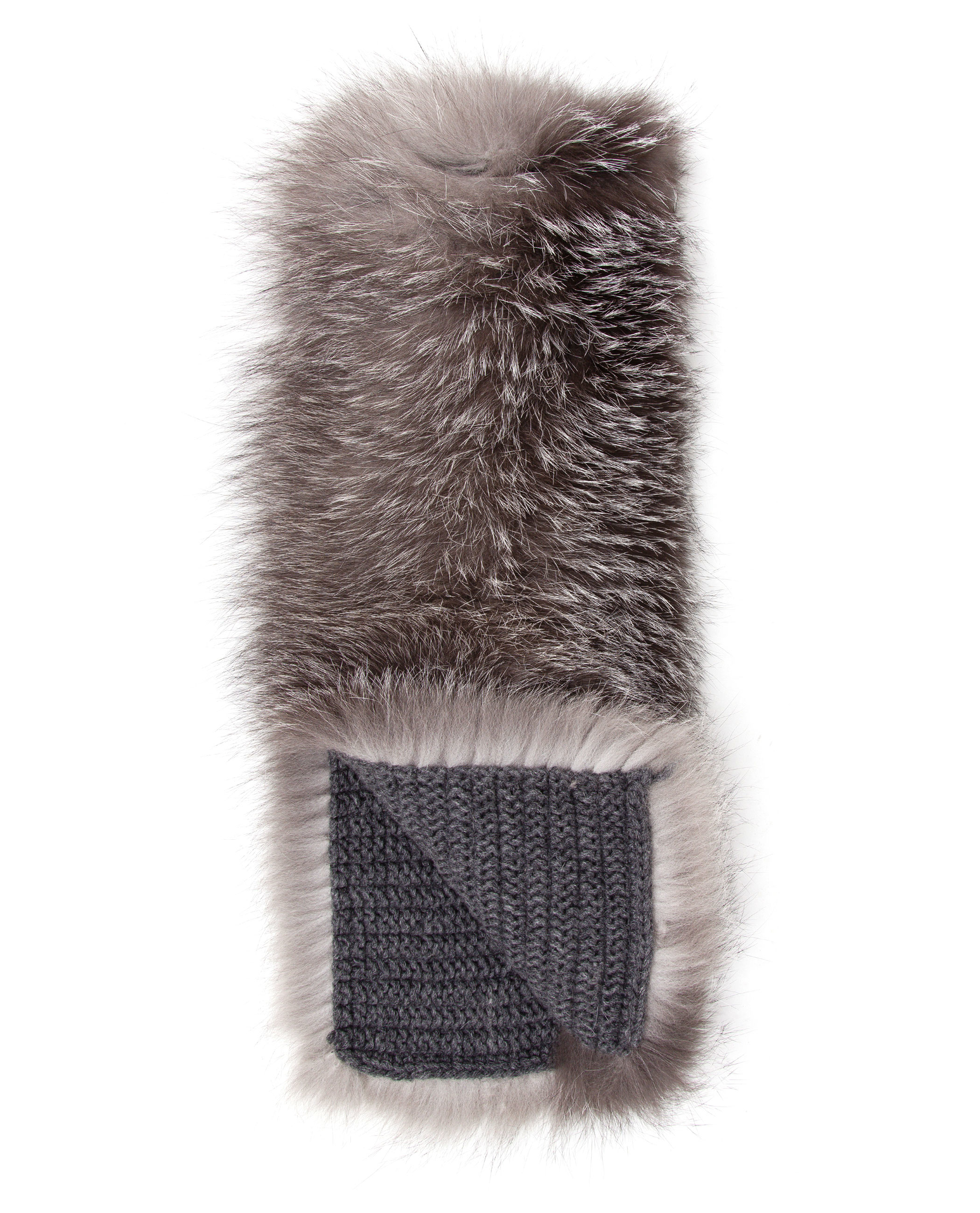 knitted cashmere fox fur scarf inverni oh2fzF