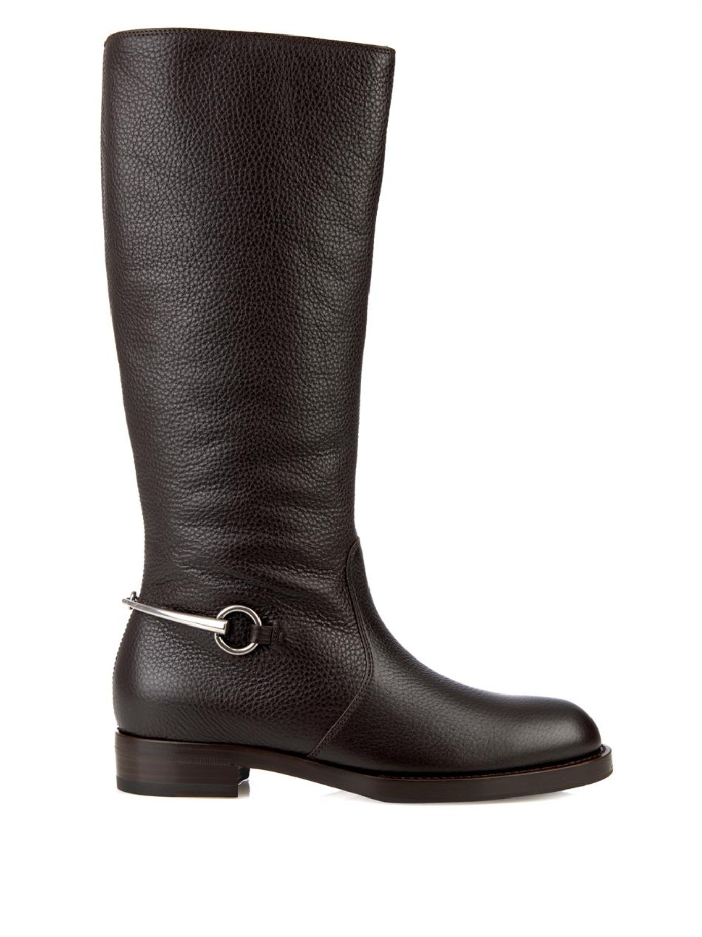 3db5a64b9 Gucci Horsebit Leather Riding Boots in Brown - Lyst