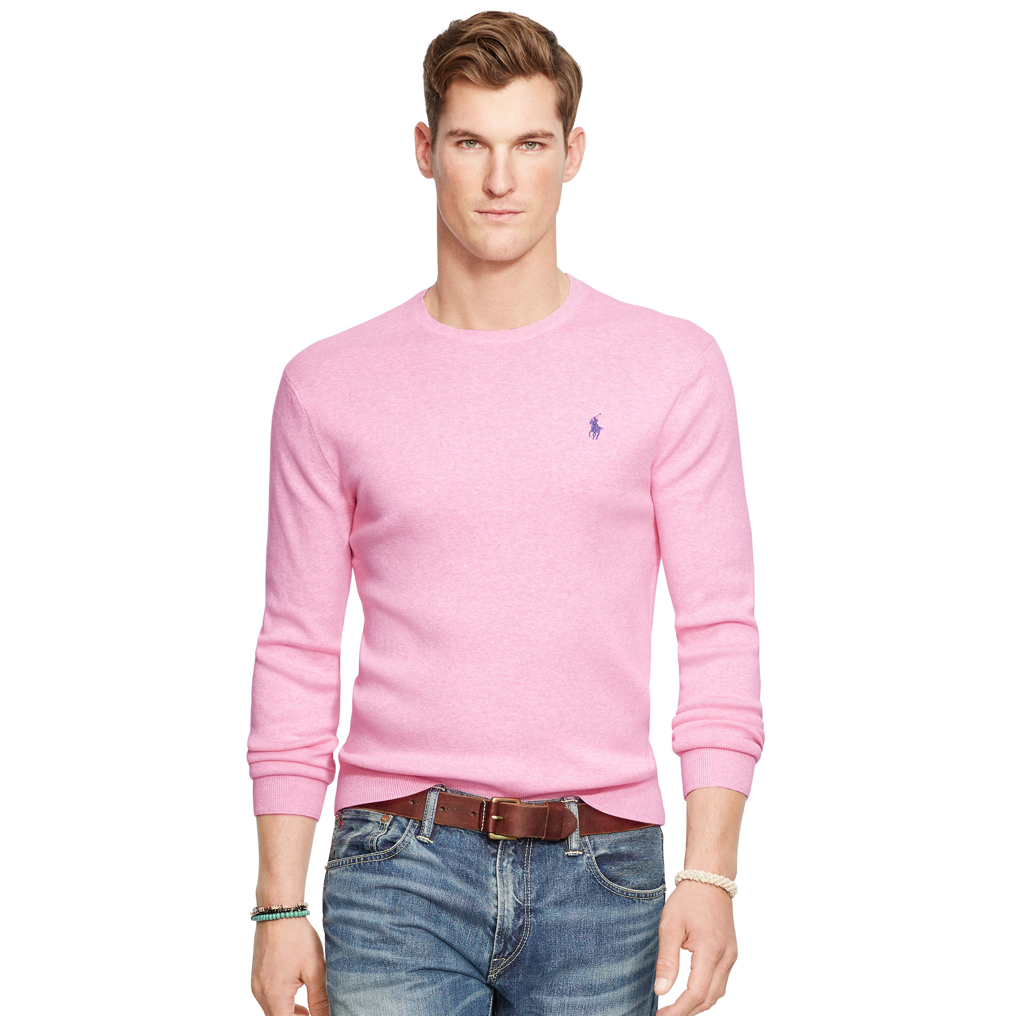 65a4dfff3eb49 Polo Ralph Lauren Pima Cotton Crewneck Sweater in Pink for Men - Lyst