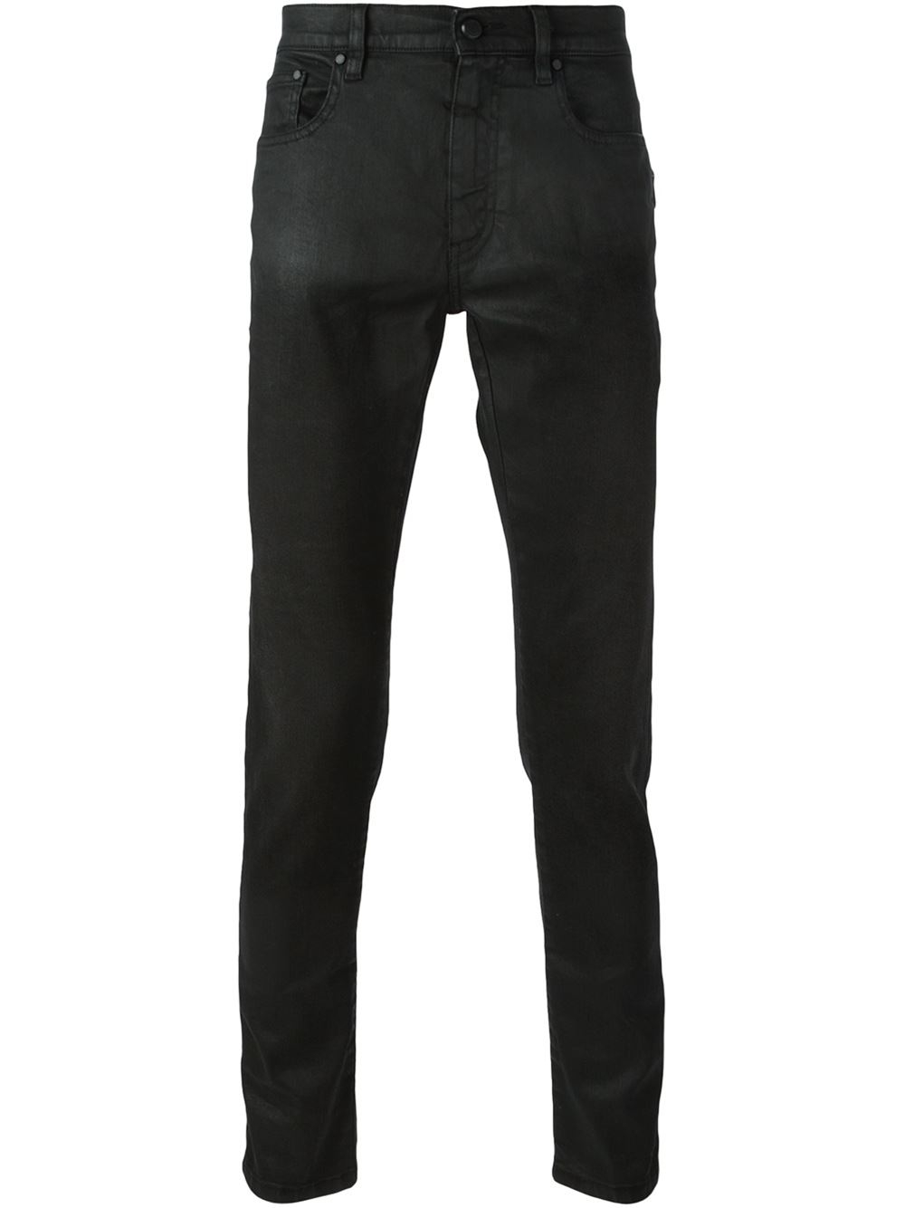 Saint Laurent Waxed Cotton Blend Jeans - Saint laurent - tap into saint laurent's rock'n'roll aesthetic with these black waxed jeans. Crafted in italy from a mid-weight stretch cotton-blend, they are cut to a mid rise with a skinny leg.