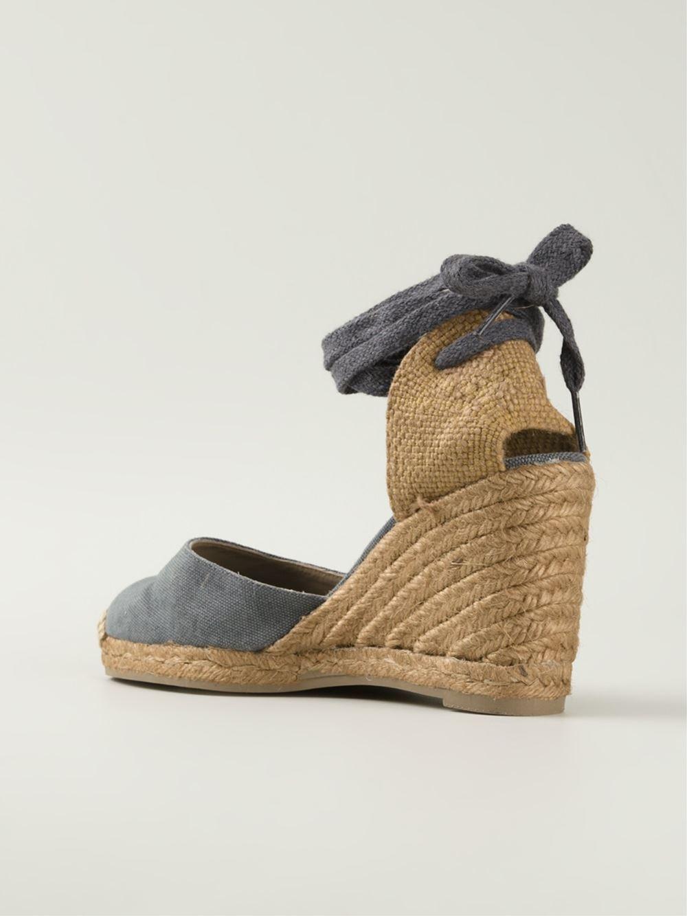castaner wedge espadrille sandals in gray lyst