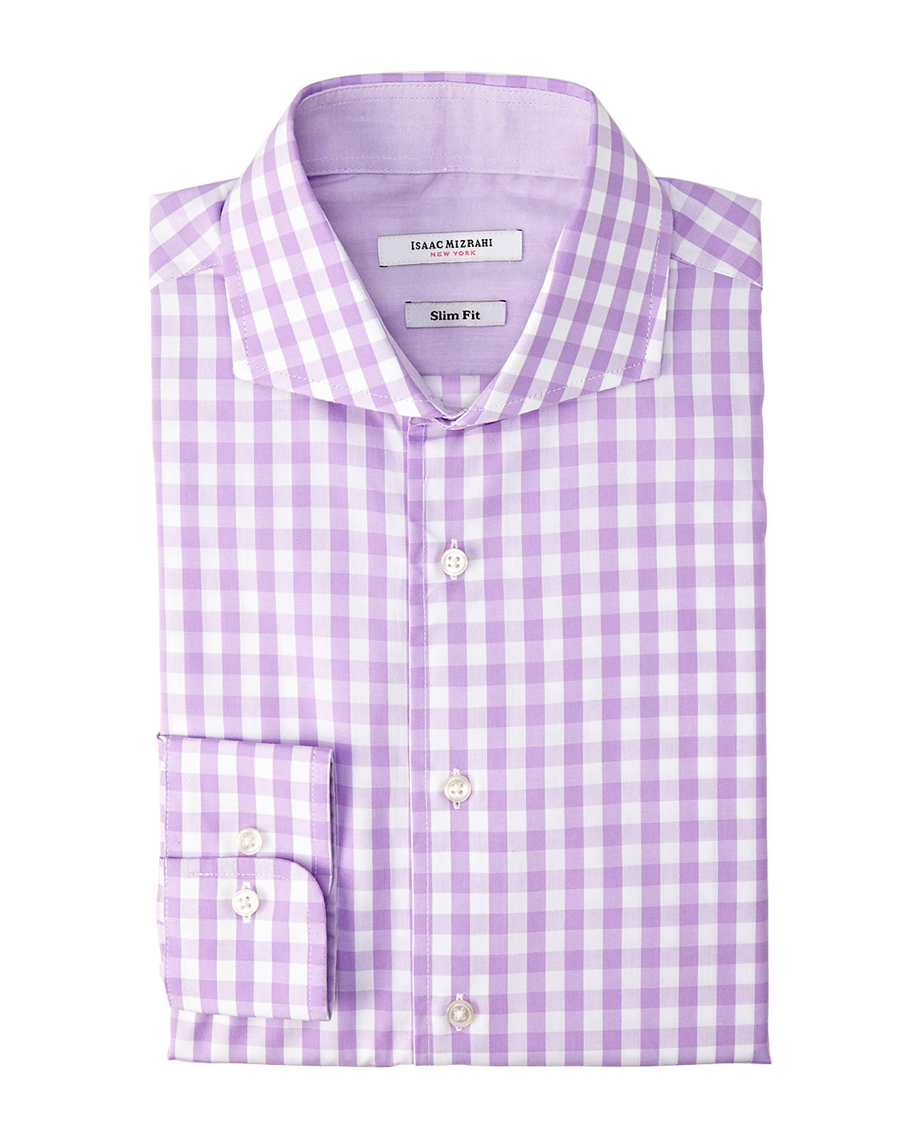 Lyst isaac mizrahi new york lilac slim fit gingham dress for Men s purple gingham shirt