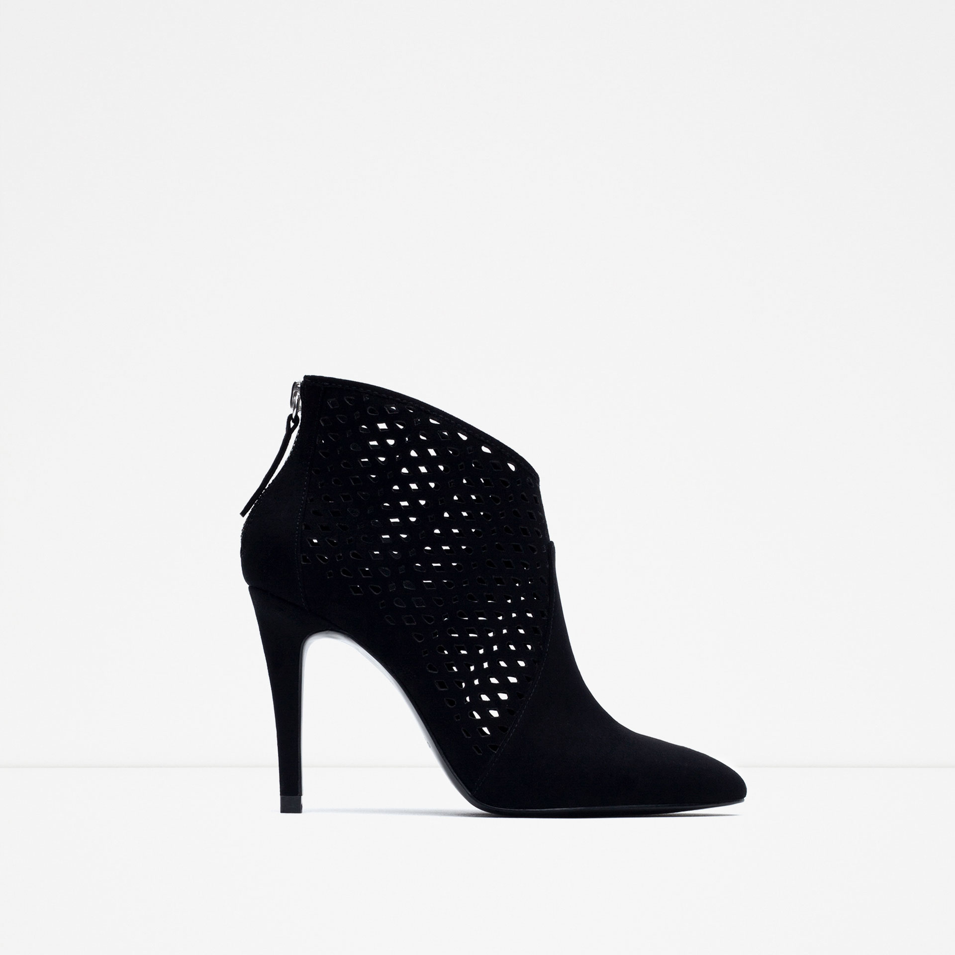 Zara High Heel Leather Ankle Lace Up Boot