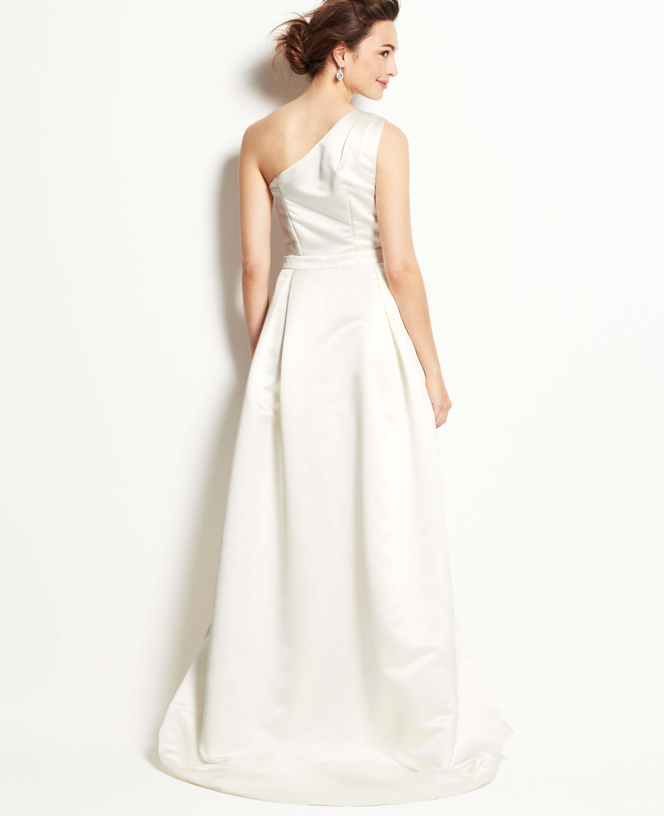 Lyst - Ann Taylor Petite Duchess Satin One Shoulder Wedding Dress in ...