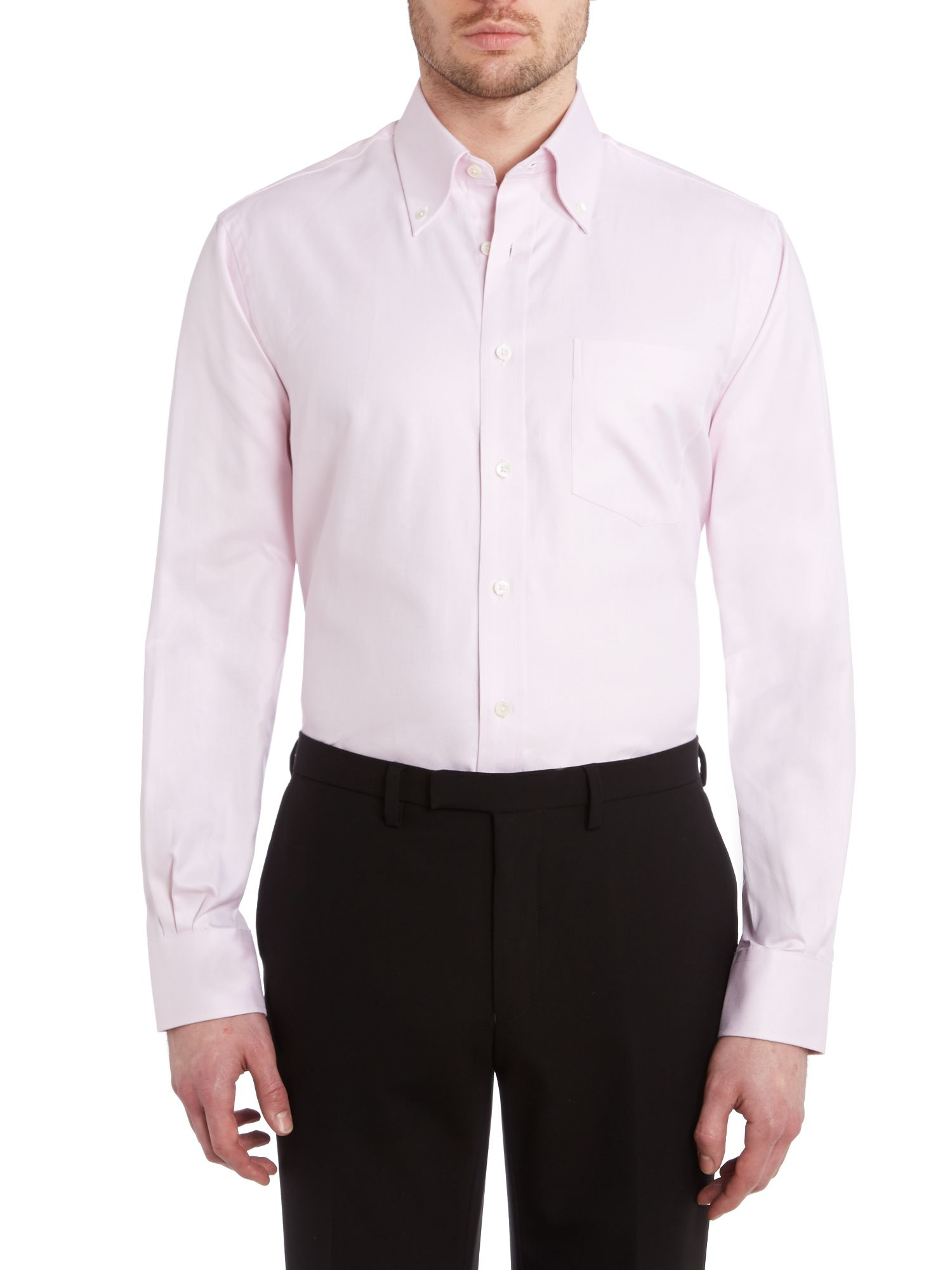 Chester Barrie Classic Button Down Collar Shirt In Pink