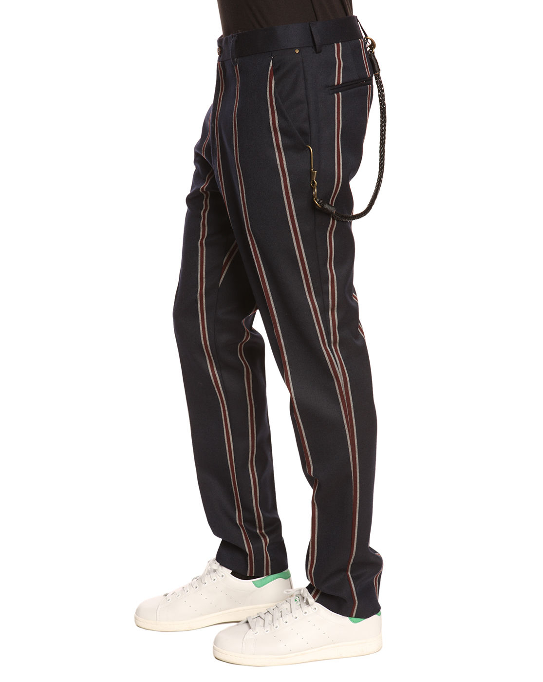 Atelier scotch navy blue striped wool trousers integrated for Atelier maison scotch