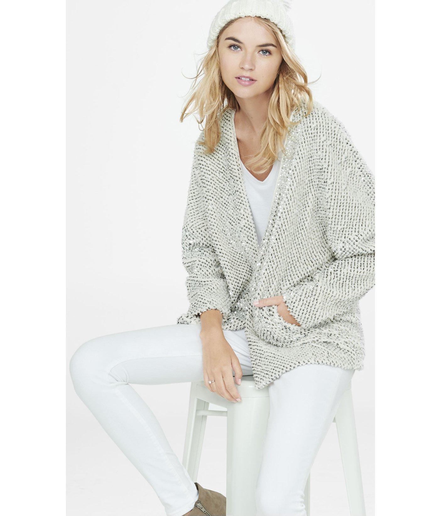 Express Fuzzy Sequined Coatigan in Gray   Lyst