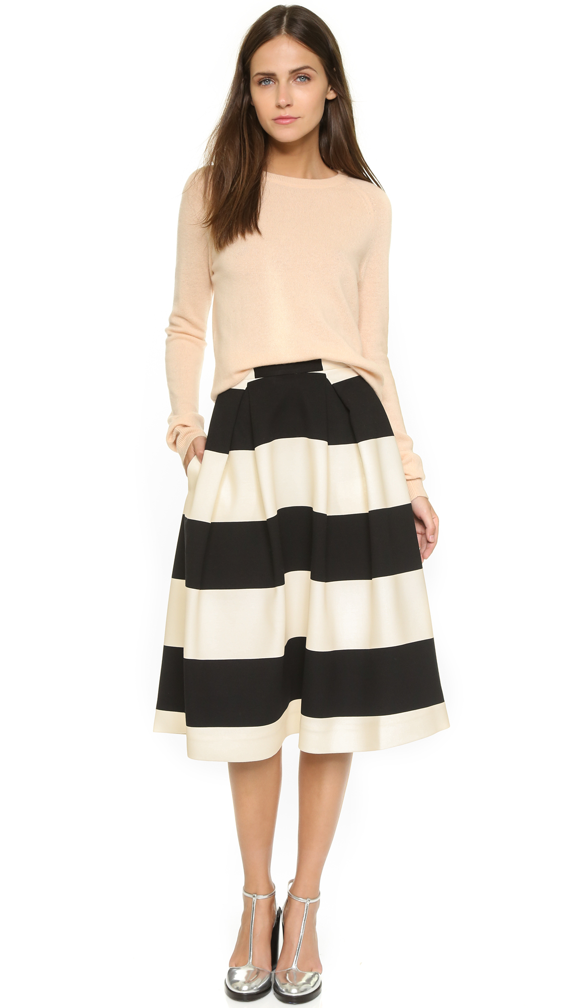 Nicholas N / Orchard Stripe Ball Skirt in Black | Lyst