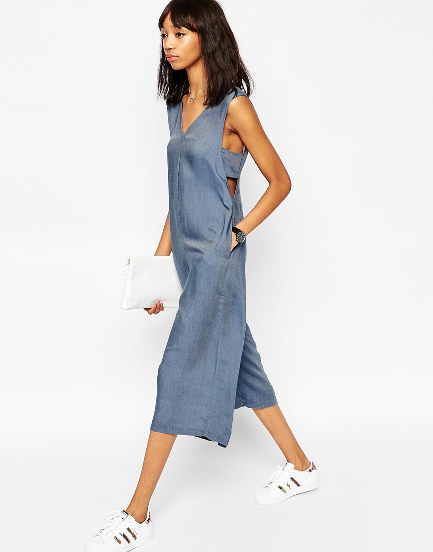 7f6e0173d2da ASOS Chambray Jumpsuit With Banded Sides And Culotte Leg in Blue - Lyst