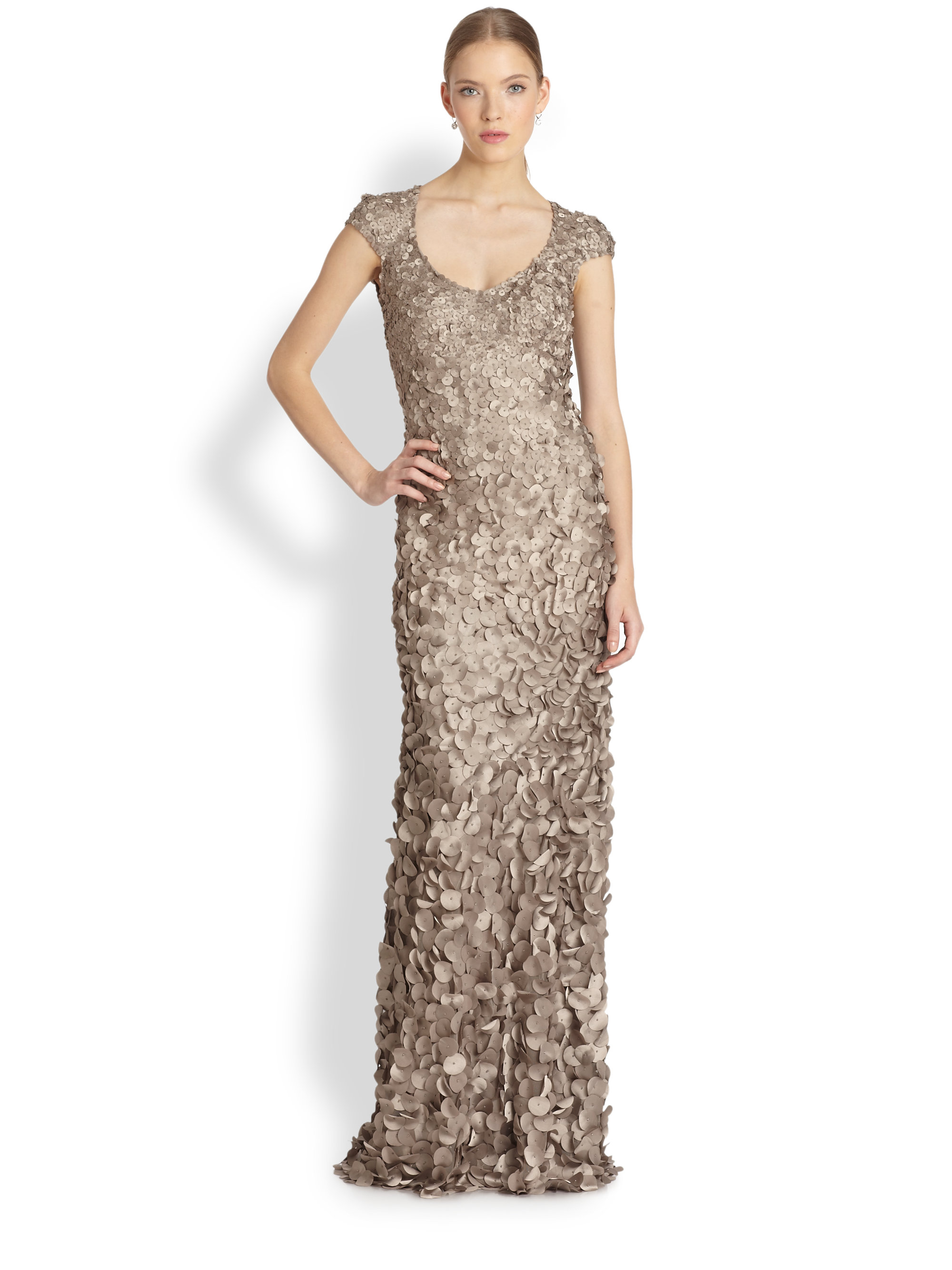 Theia Petal Cap-Sleeve Gown in Gray - Lyst