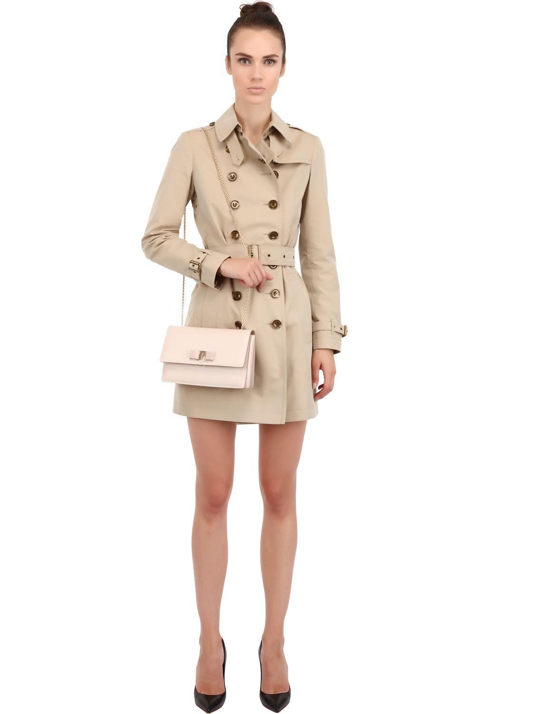 a0b58a3e75b0 Ferragamo Ginny Saffiano Leather Shoulder Bag in Pink - Lyst