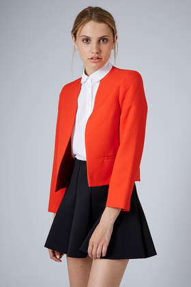 Topshop Textured Crop Jacket in Red | Lyst