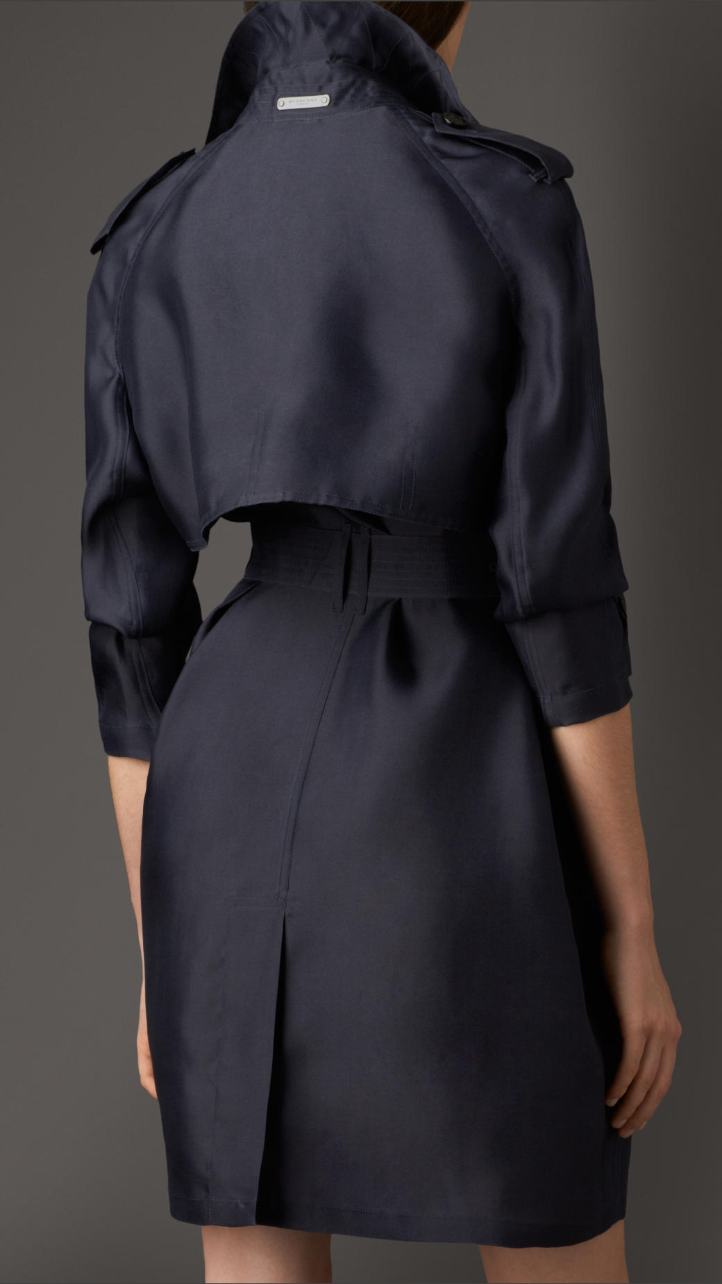 burberry long showerproof silk trench coat in blue lyst