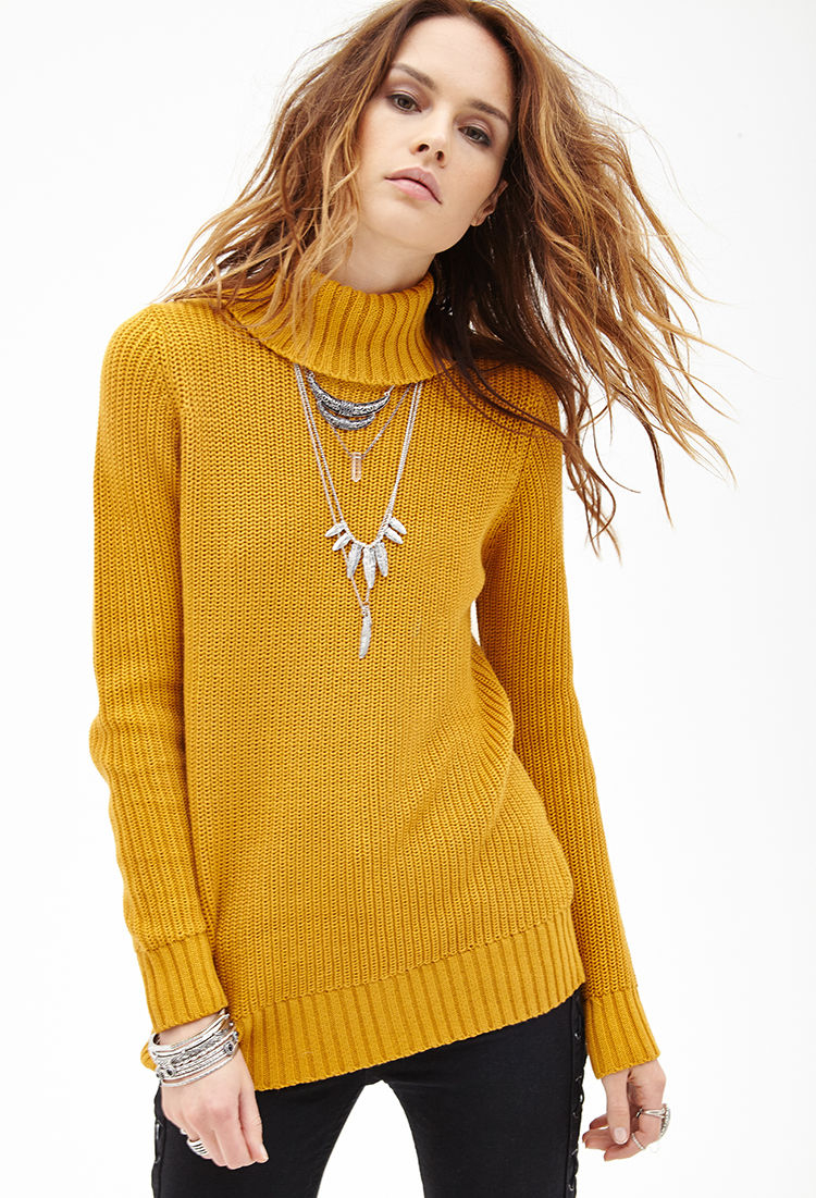 Lyst Forever 21 Ribbed Turtleneck Sweater In Yellow