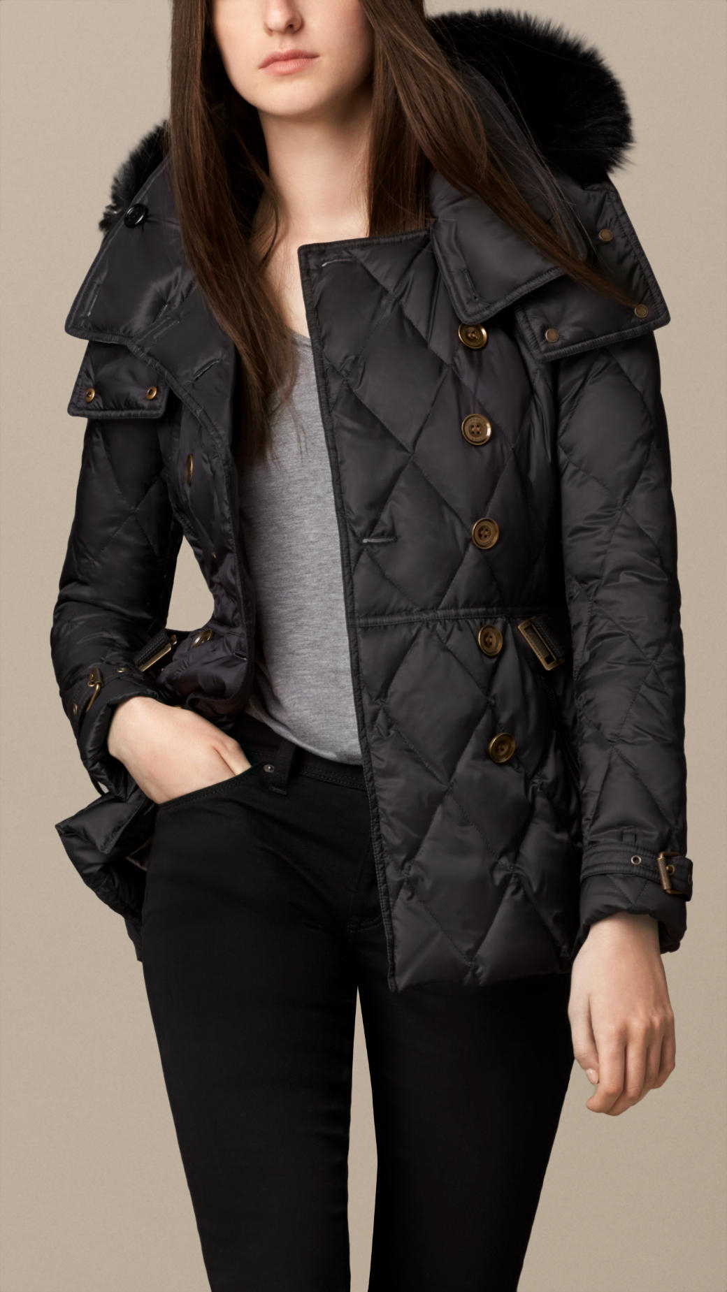 Burberry Down-Filled Puffer Coat With Fur Trim in Black | Lyst